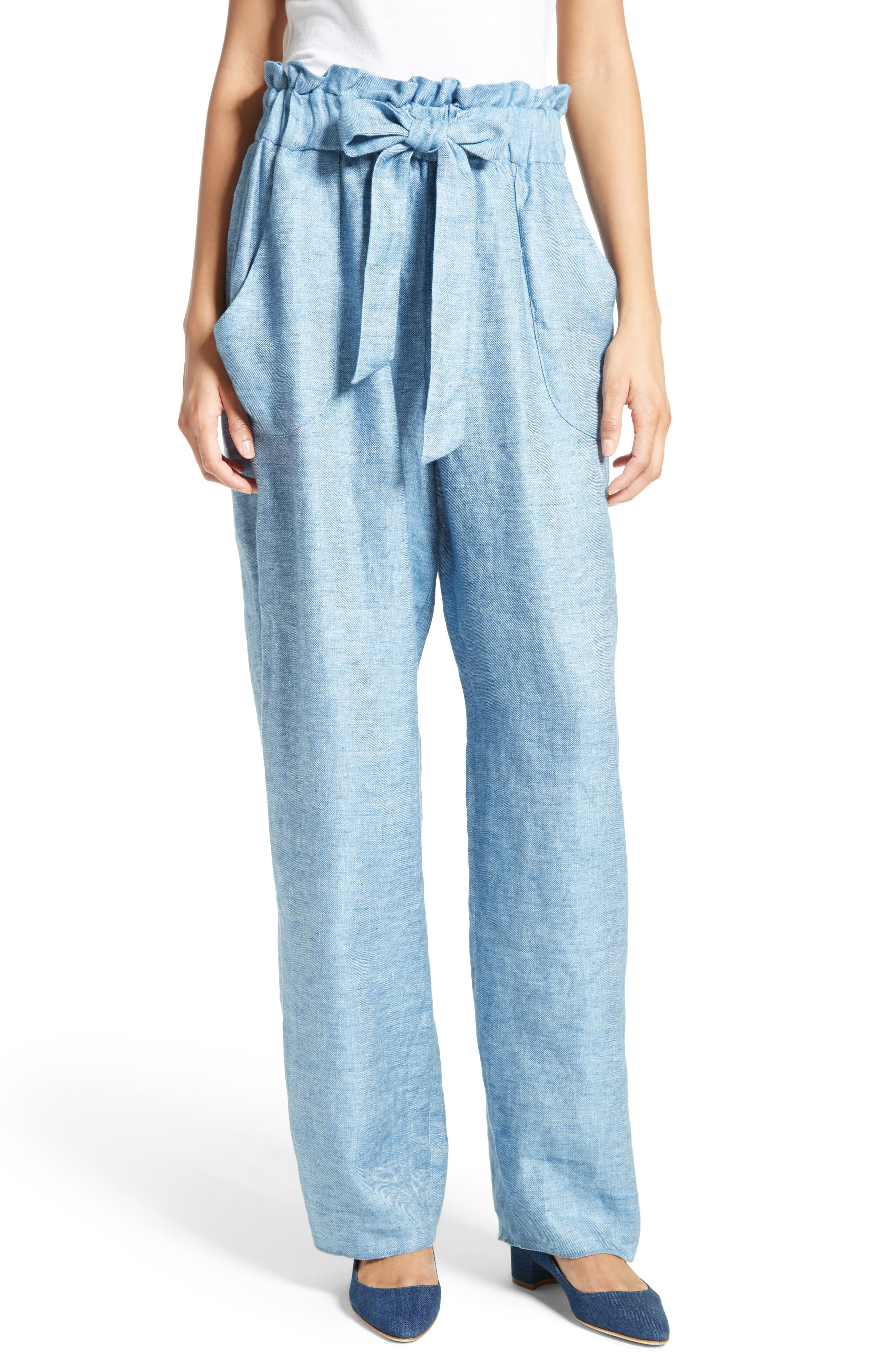 Milly Kori Gathered Linen Blend Twill Pants