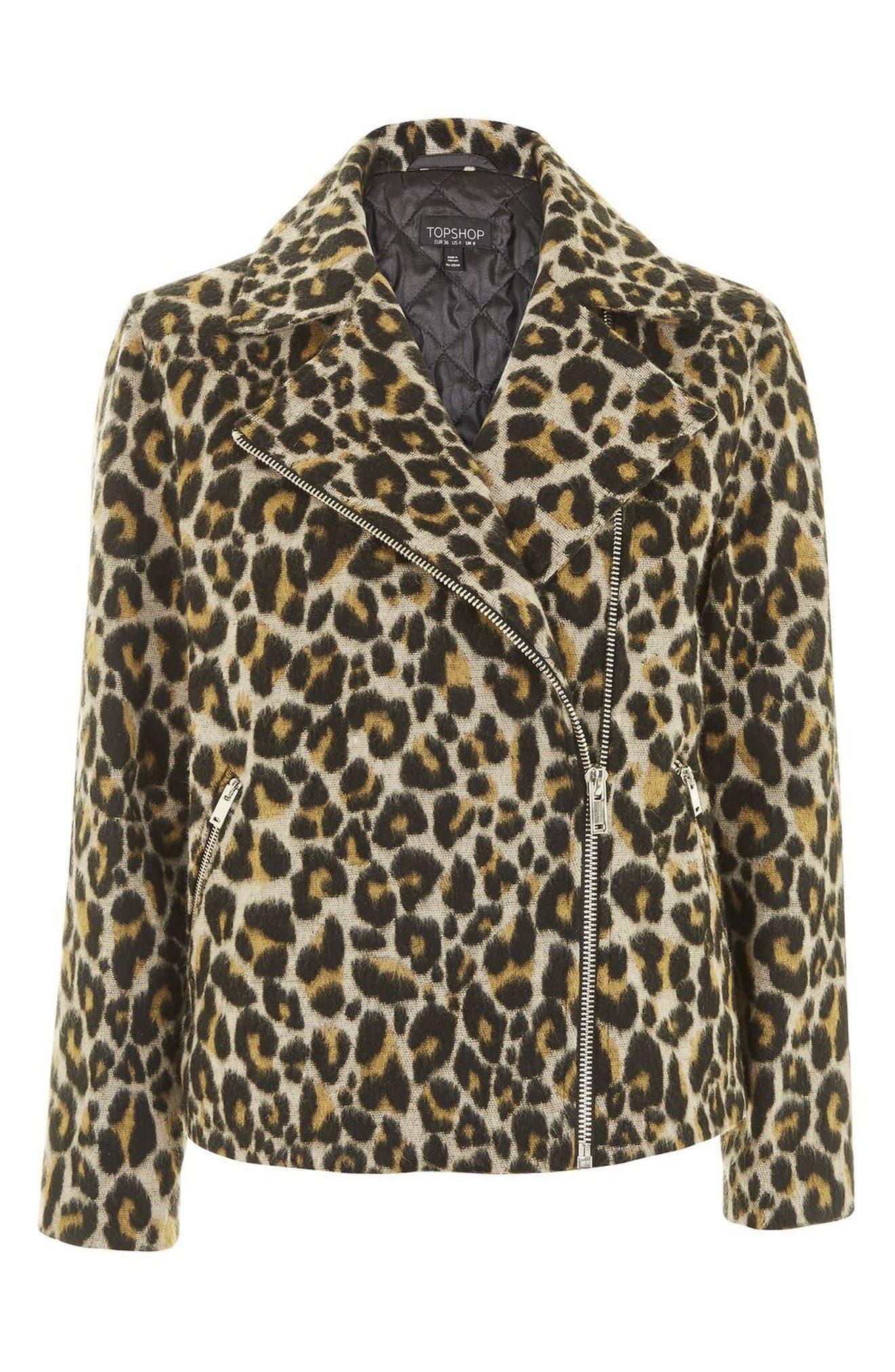 Alternate Image 4  - Topshop Leopard Print Biker Jacket