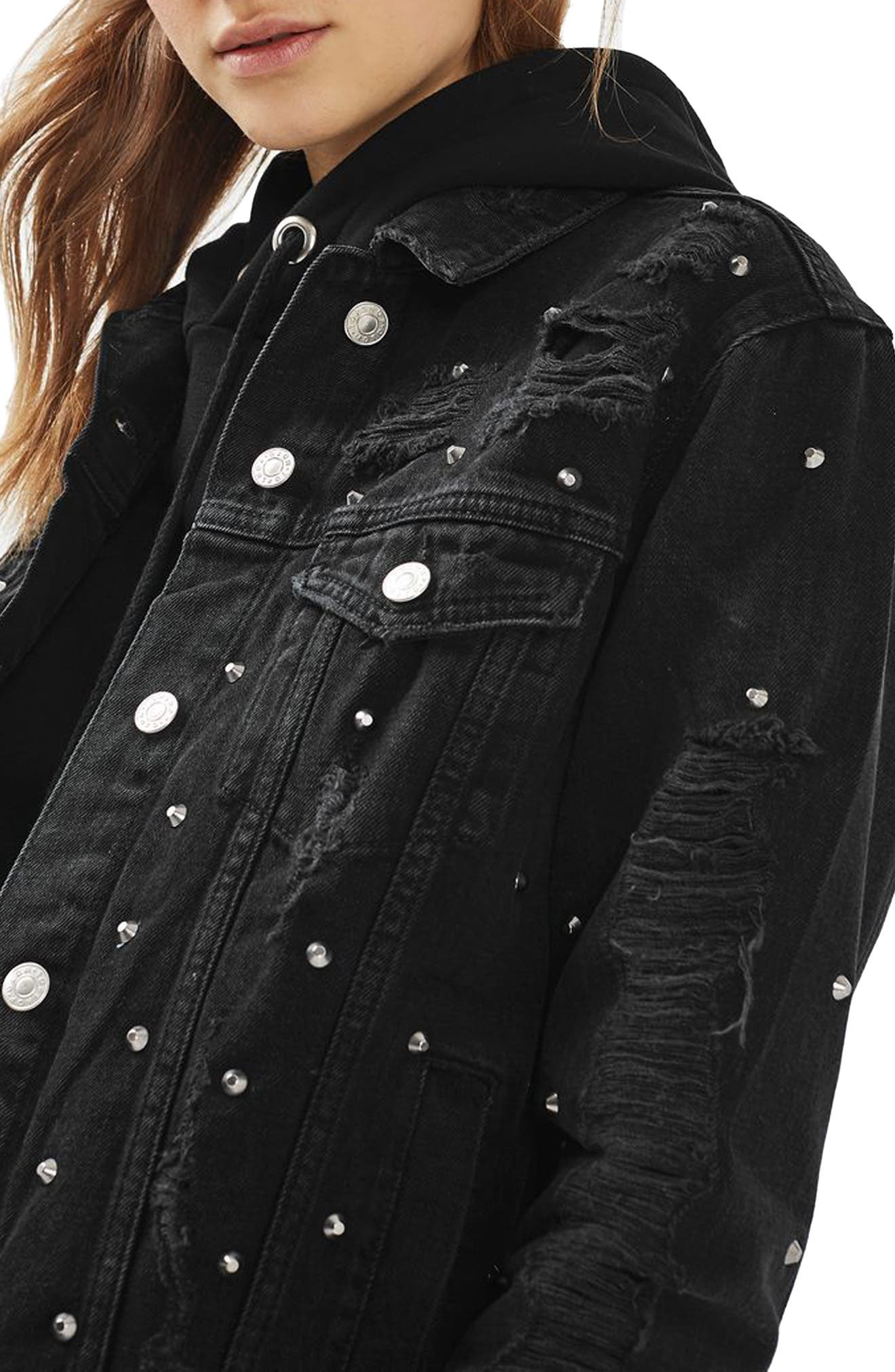 Main Image - Topshop Studded Distressed Denim Jacket (Regular & Petite)