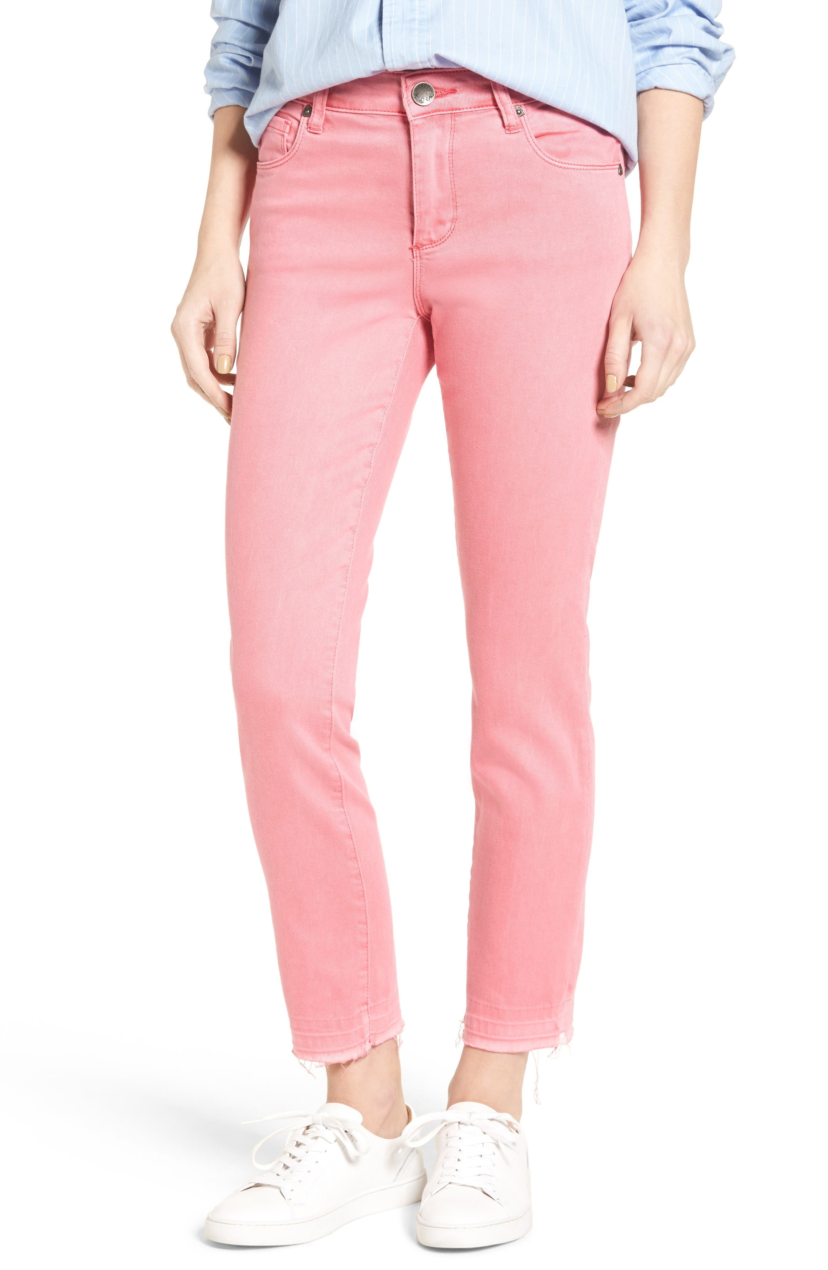 KUT from the Kloth Reese Colored Ankle Straight Leg Jeans (Flamingo)