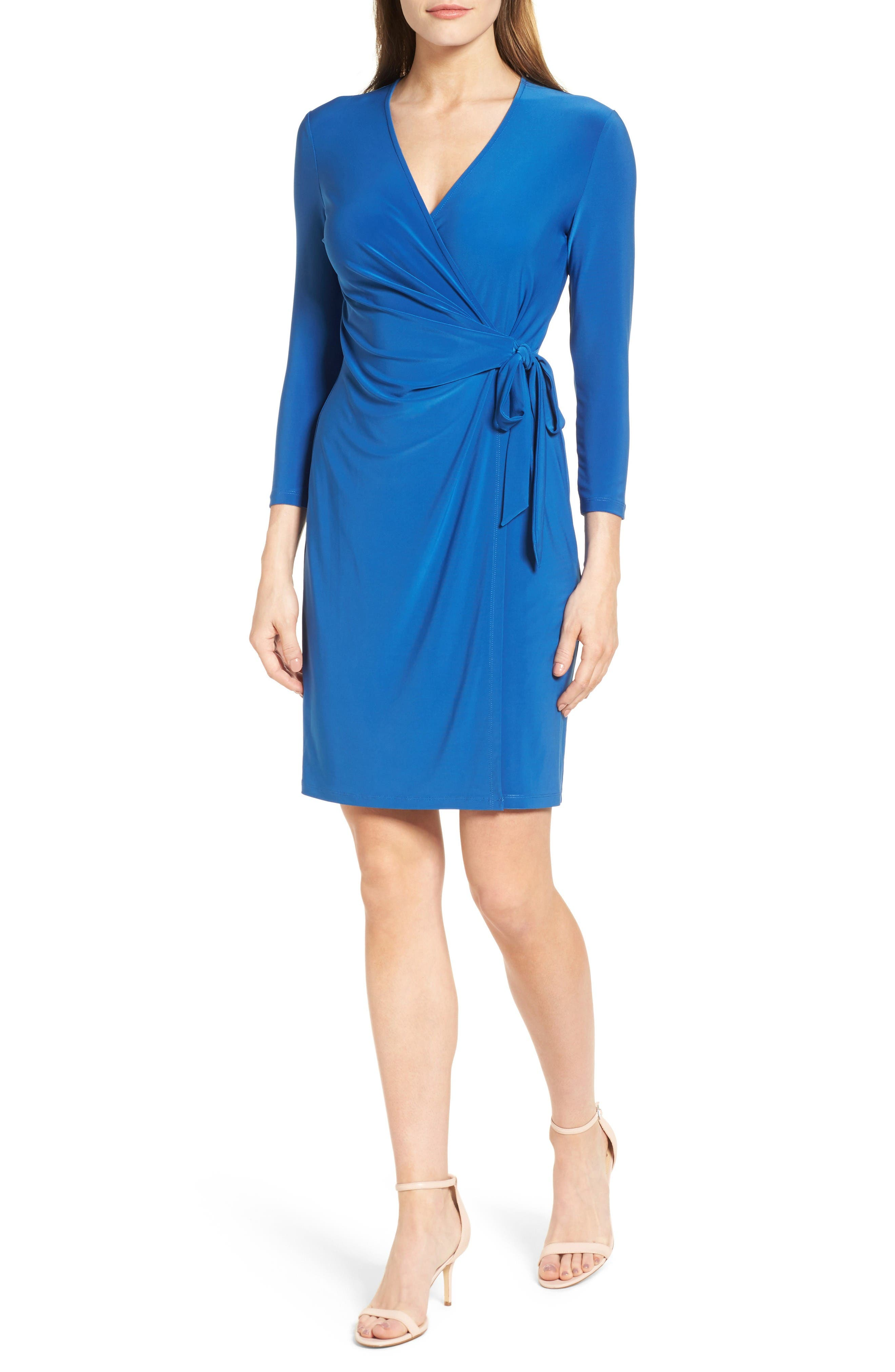 Anne Klein Stretch Jersey Faux Wrap Dress