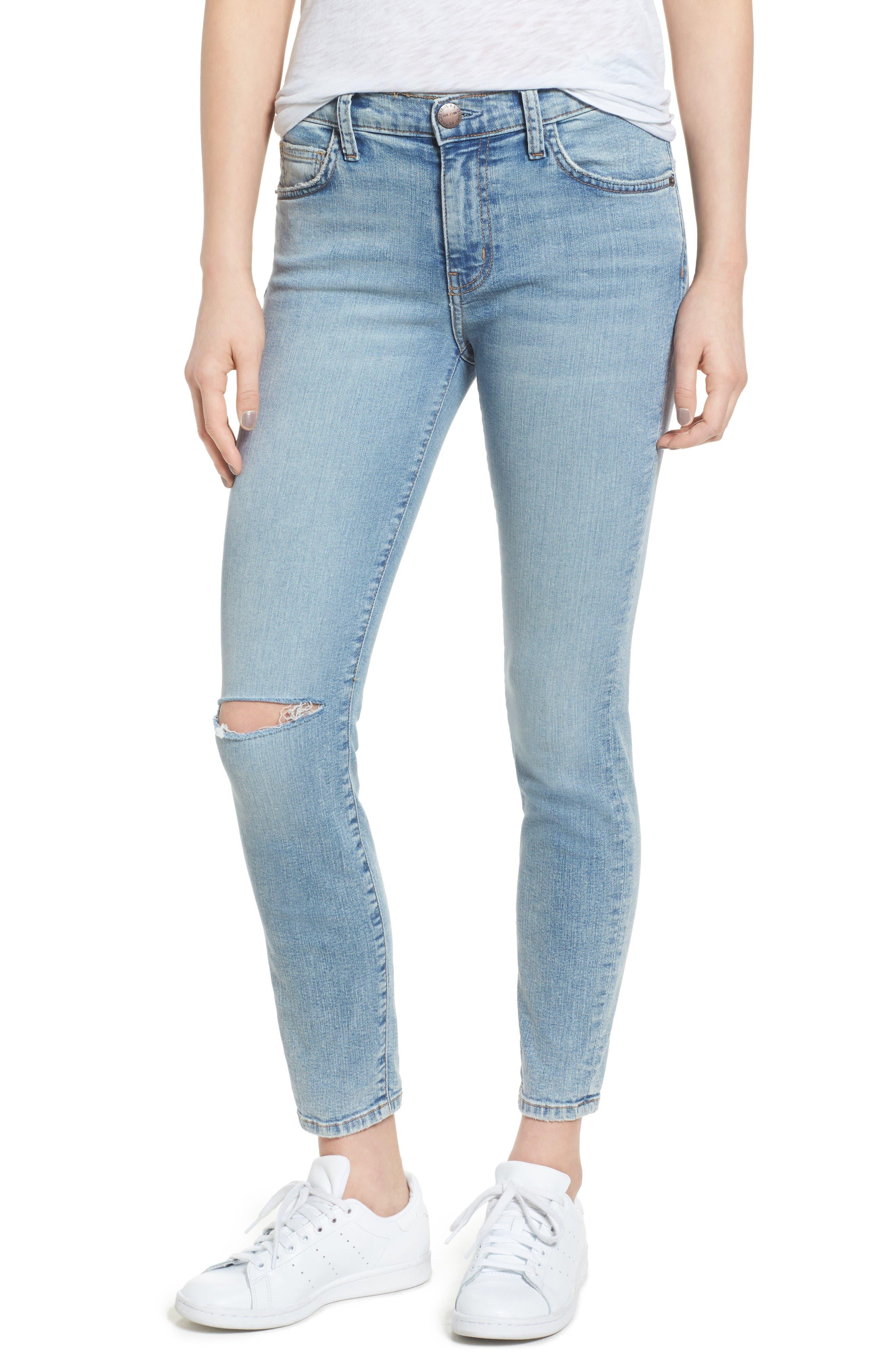 Current/Elliott The Stiletto High Waist Ankle Skinny Jeans (Seville Knee Slit Ripped)