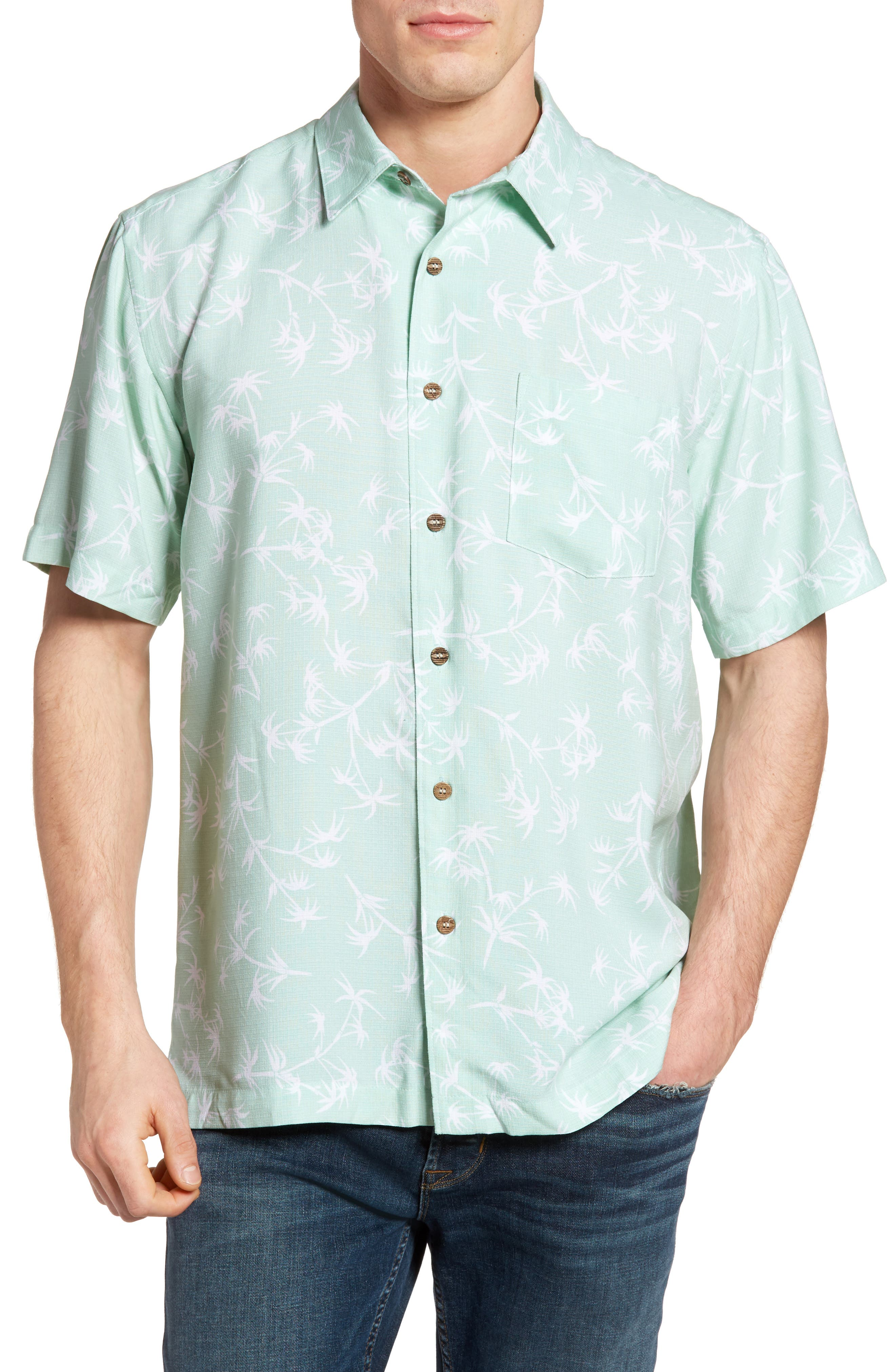 Quiksilver Waterman Collection Skinny Palms Print Sport Shirt