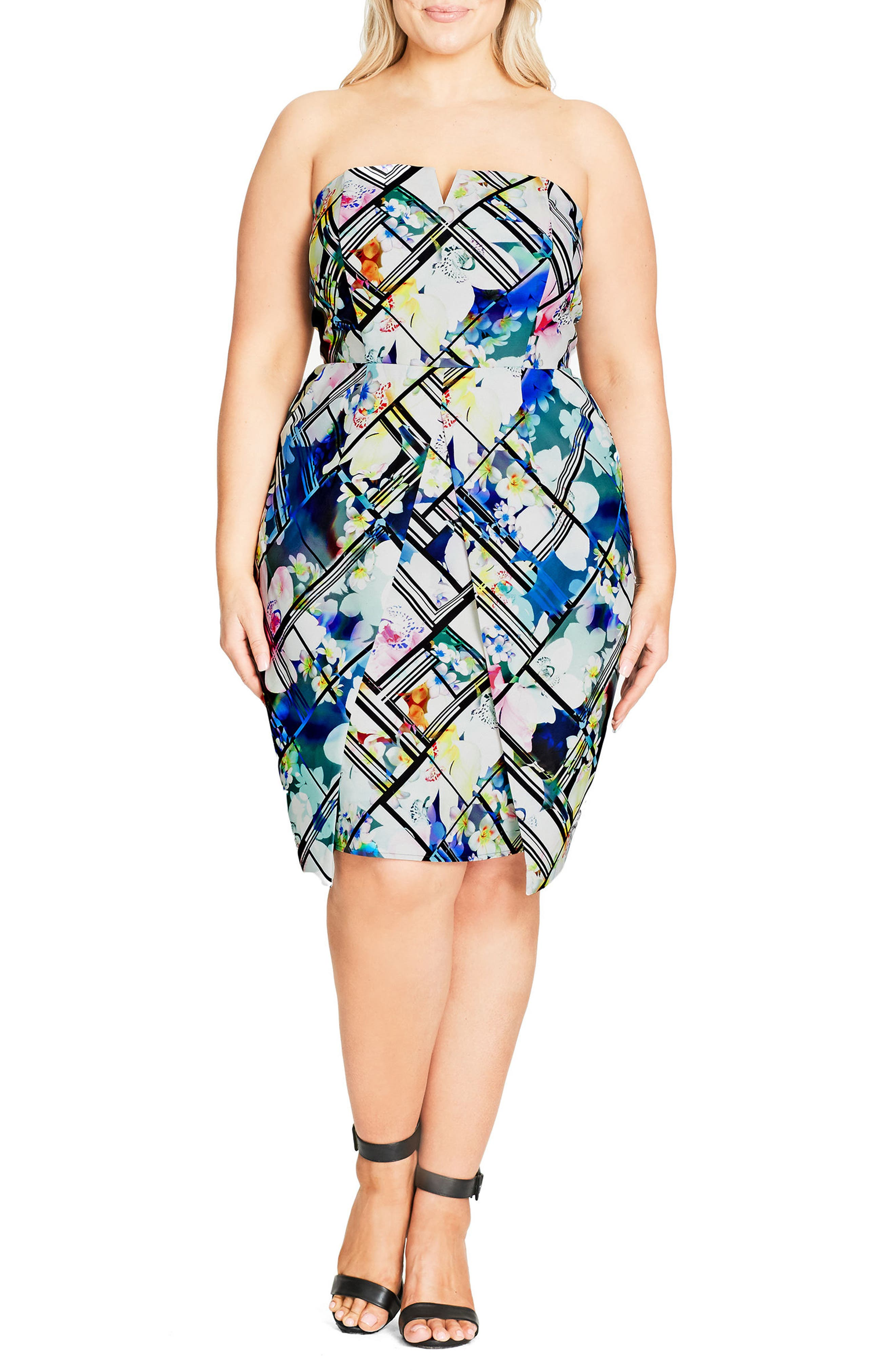 City Chic Orchid Print Strapless Sheath Dress (Plus Size)