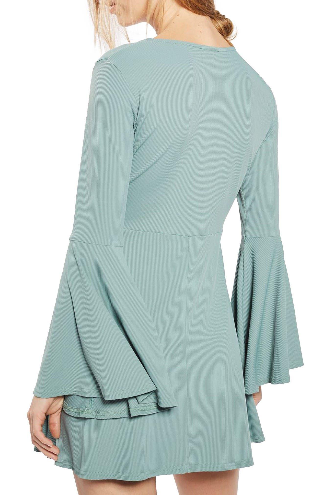 Alternate Image 3  - Topshop Flute Sleeve Skater Dress (Petite)