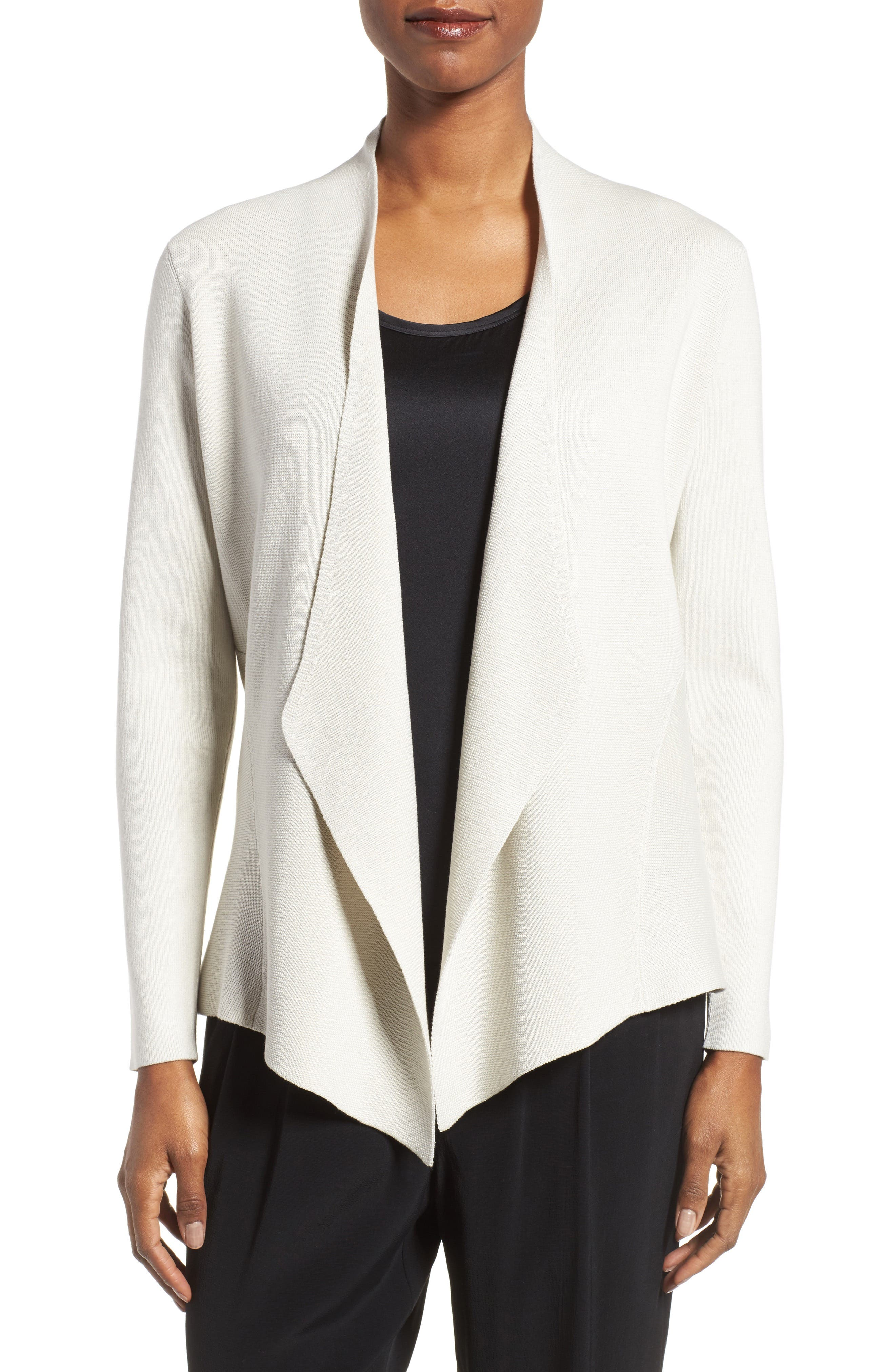 Eileen Fisher Silk & Organic Cotton Angle Front Sweater Jacket