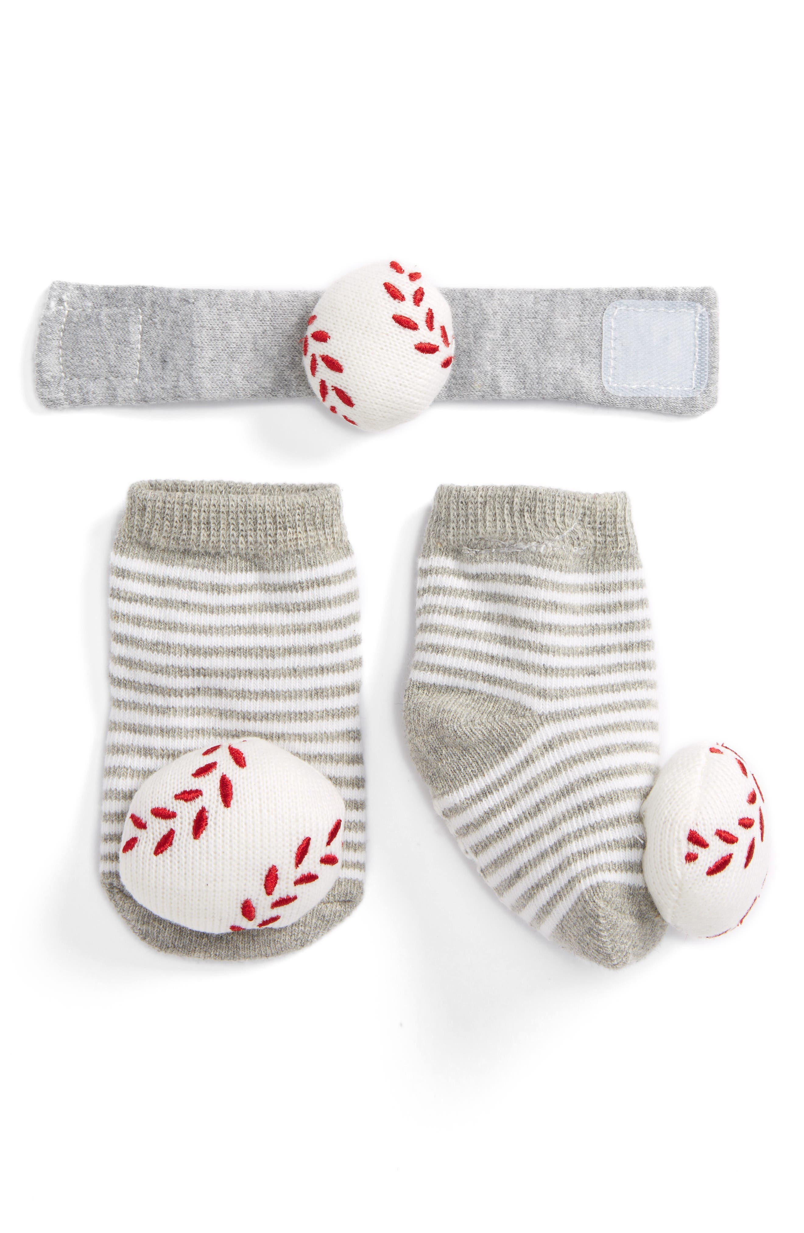 Mud Pie Baseball Wrist Rattle & Sock Set (Baby)