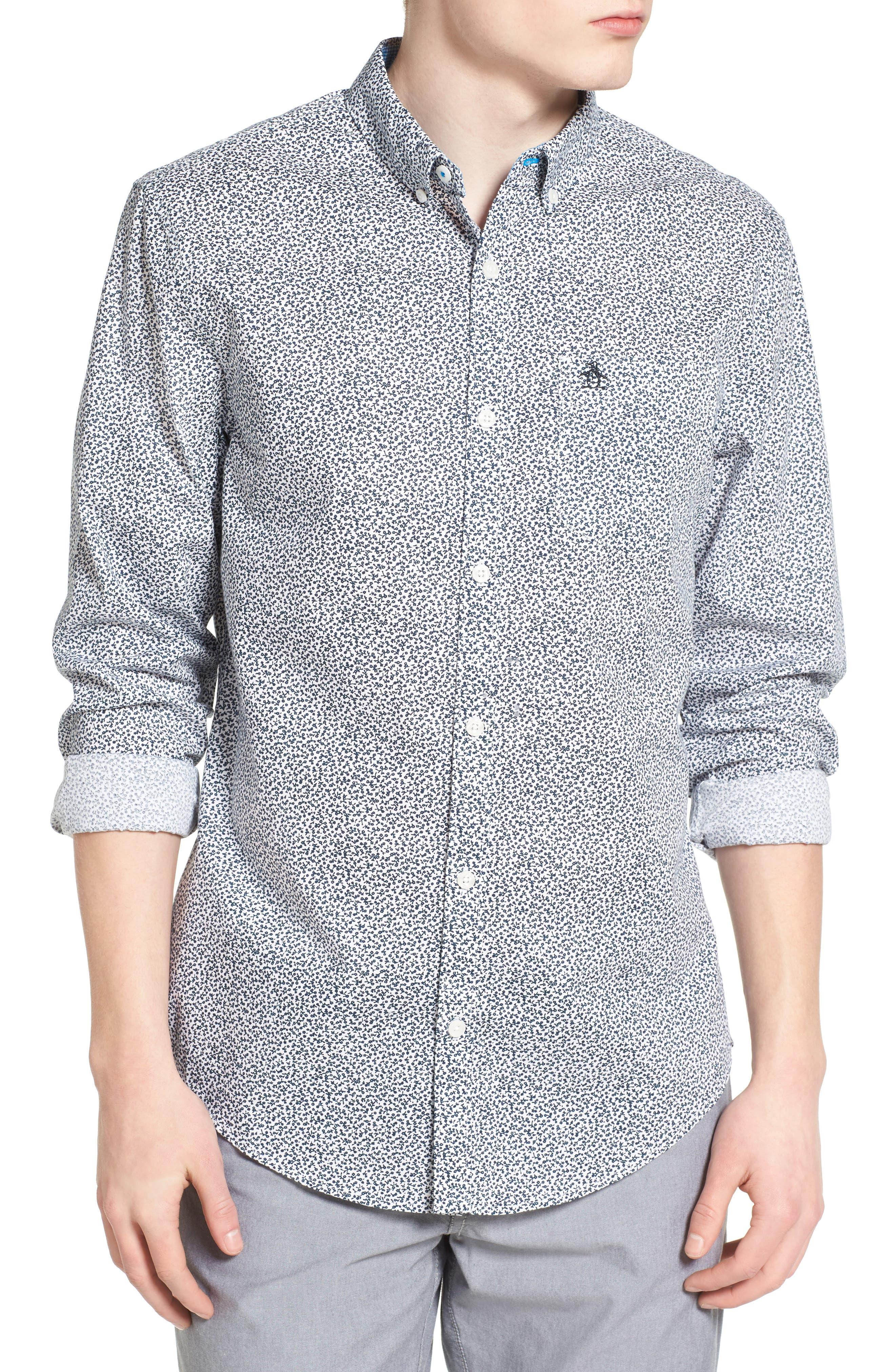 ORIGINAL PENGUIN Floral Print Woven Shirt
