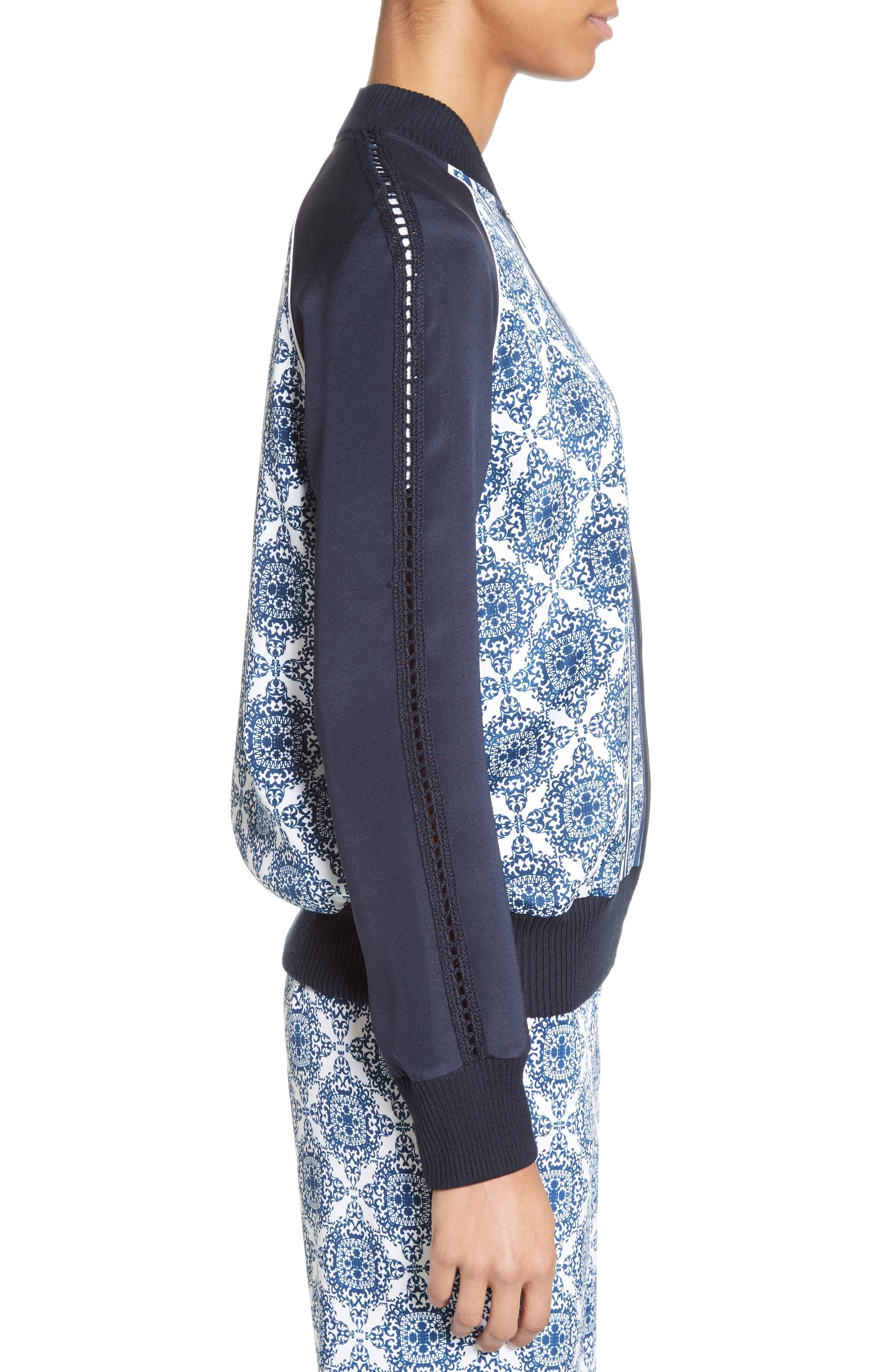 Alternate Image 4  - St. John Collection Kali Tile Print Stretch Silk Crêpe de Chine Bomber Jacket