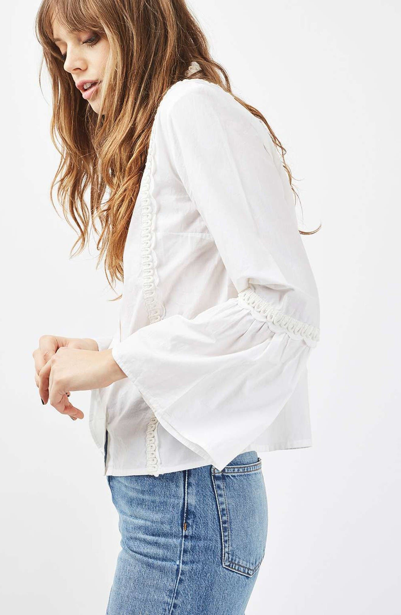 Alternate Image 2  - Topshop Cotton Poplin Ruffle Blouse