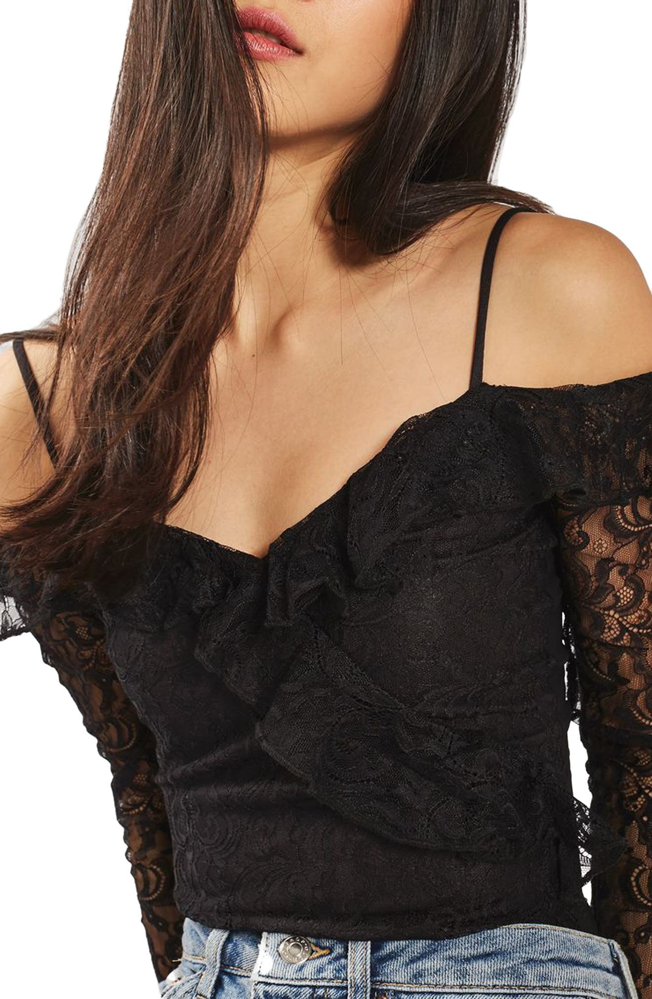 Alternate Image 5  - Topshop Lace Off the Shoulder Bodysuit