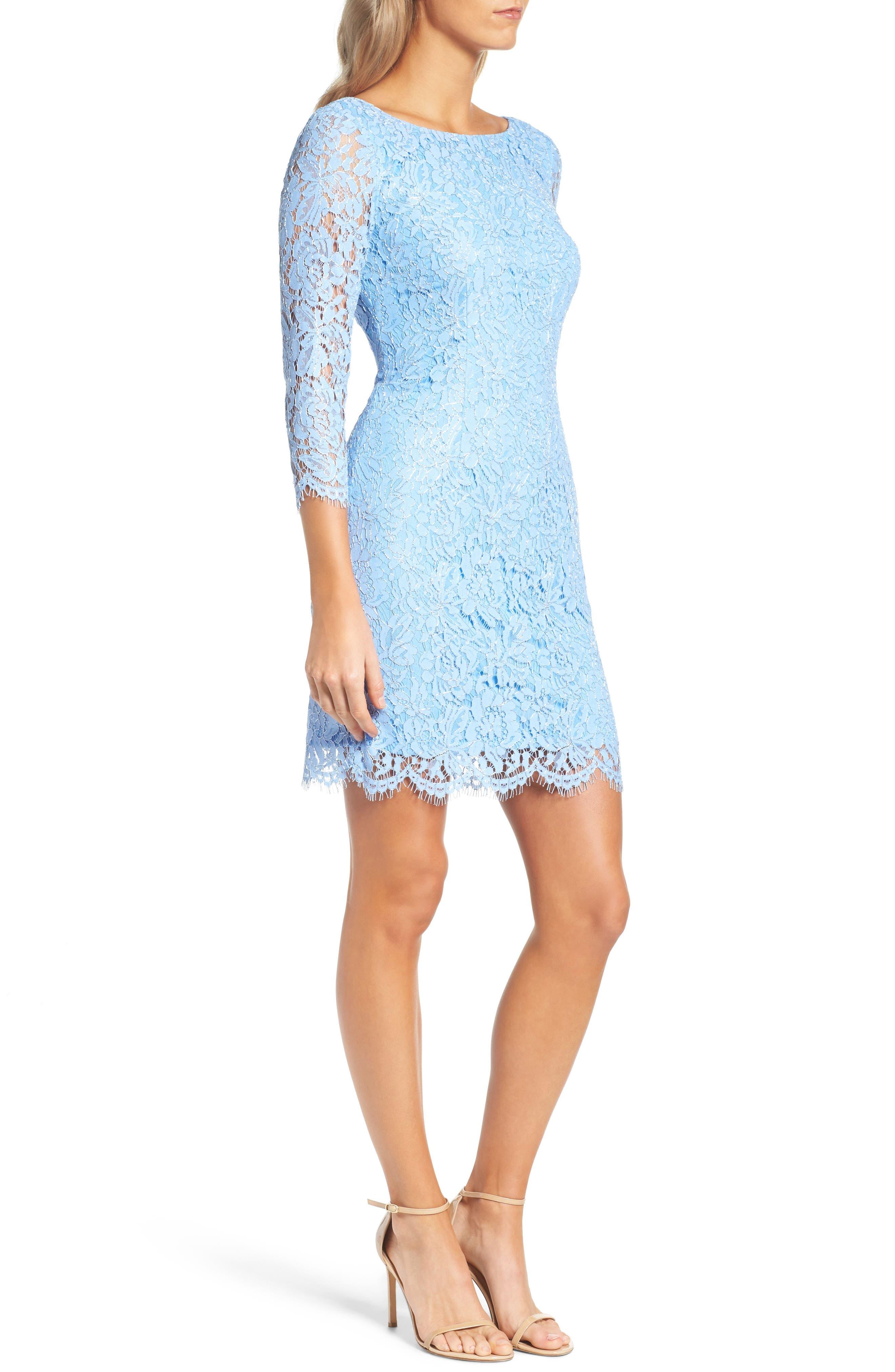 Alternate Image 3  - Adrianna Papell Metallic Lace Minidress (Regular & Petite)