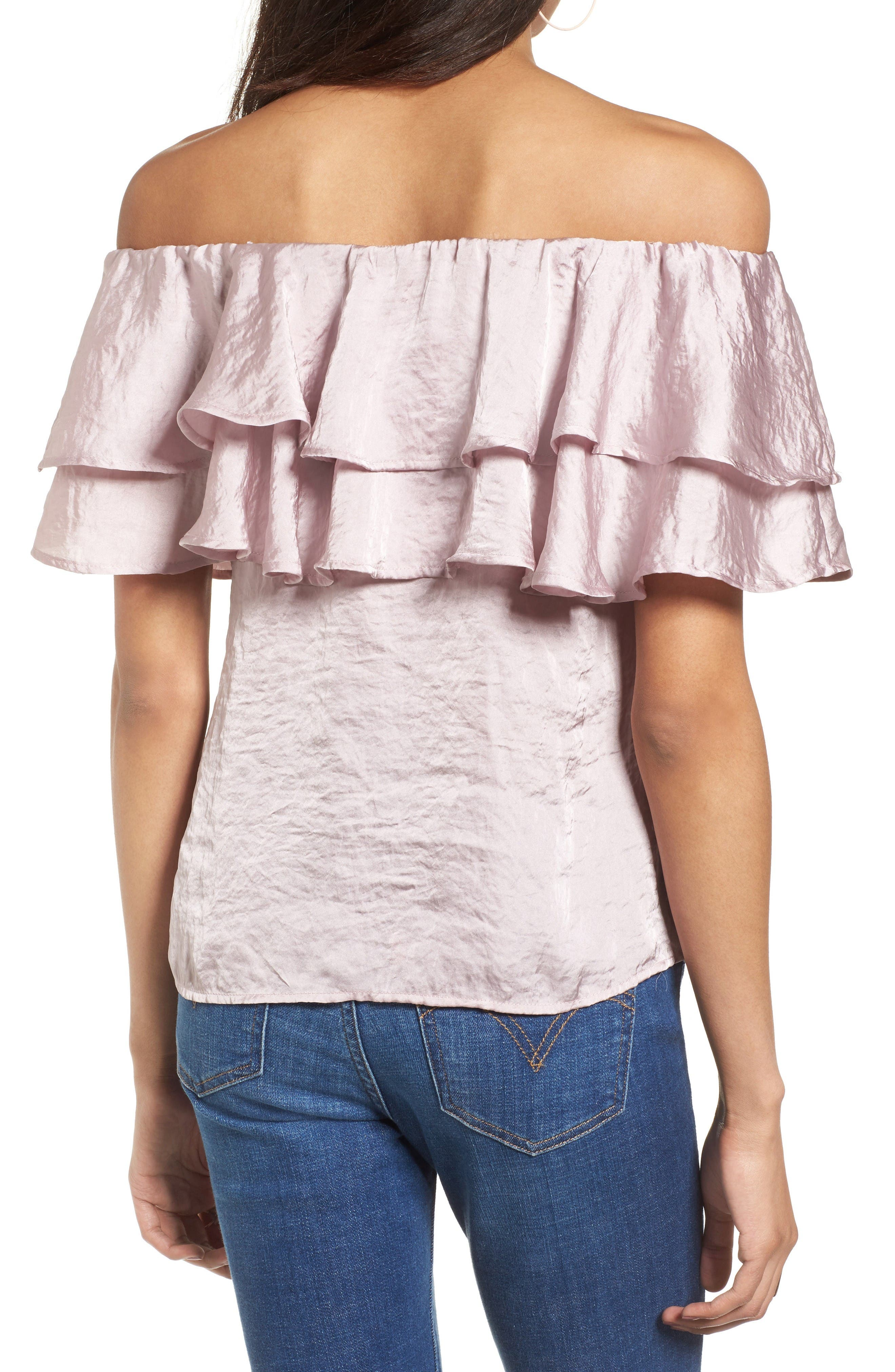 Alternate Image 2  - BP. Ruffle Satin Off the Shoulder Top