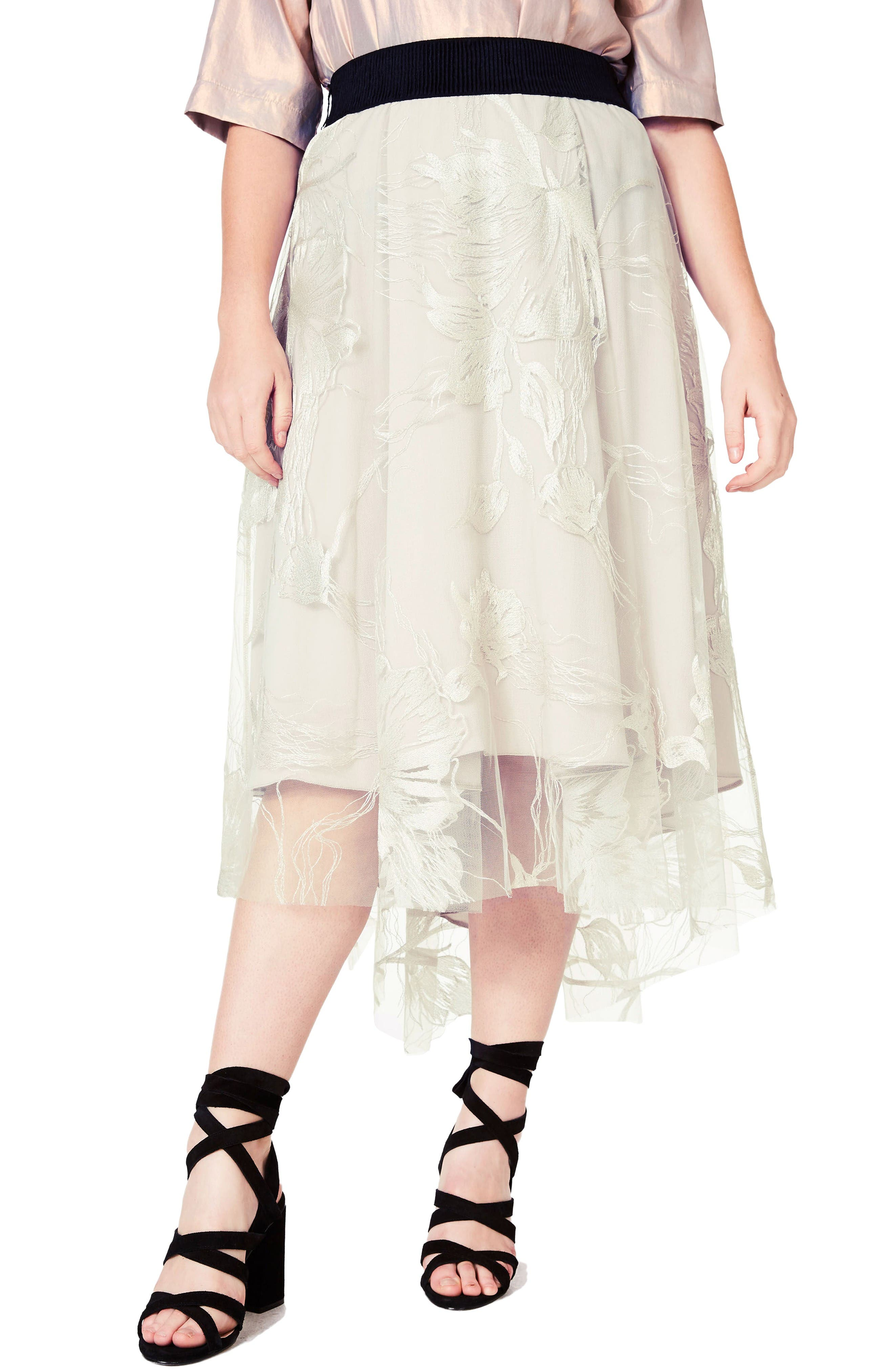 ELVI Embroidered High/Low Tulle Skirt (Plus Size)