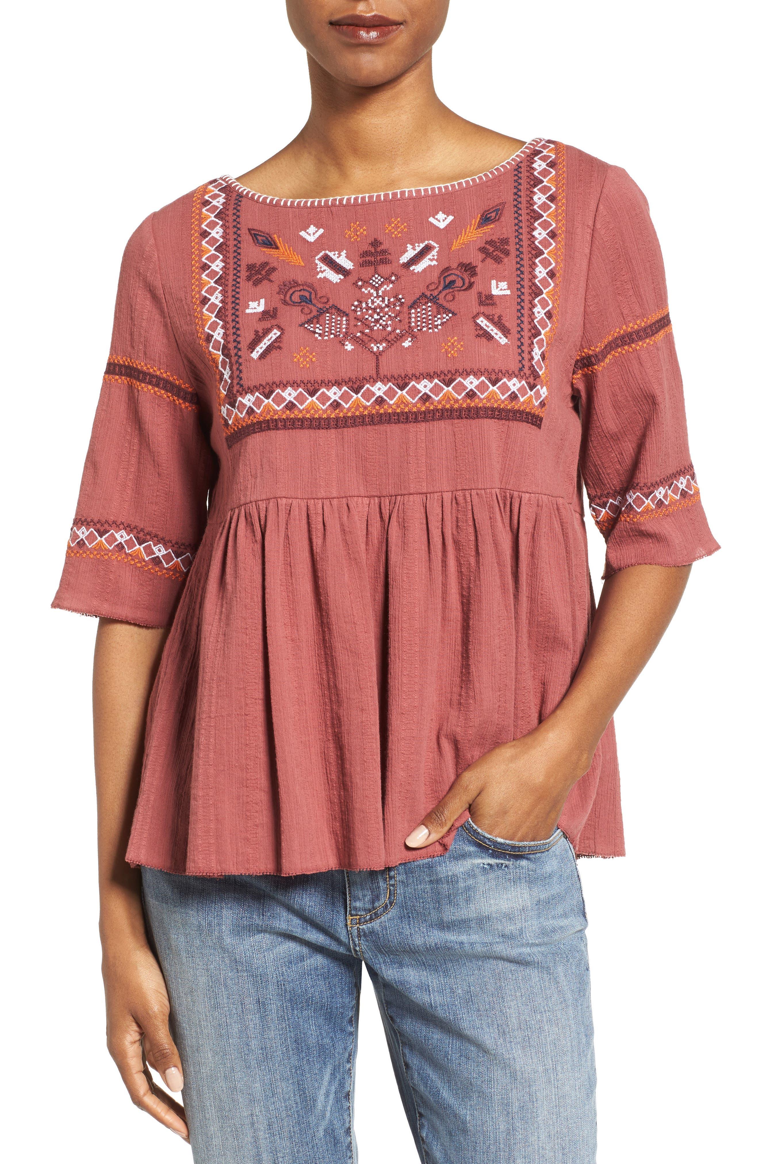 Caslon® Embroidered Babydoll Top (Regular & Petite)