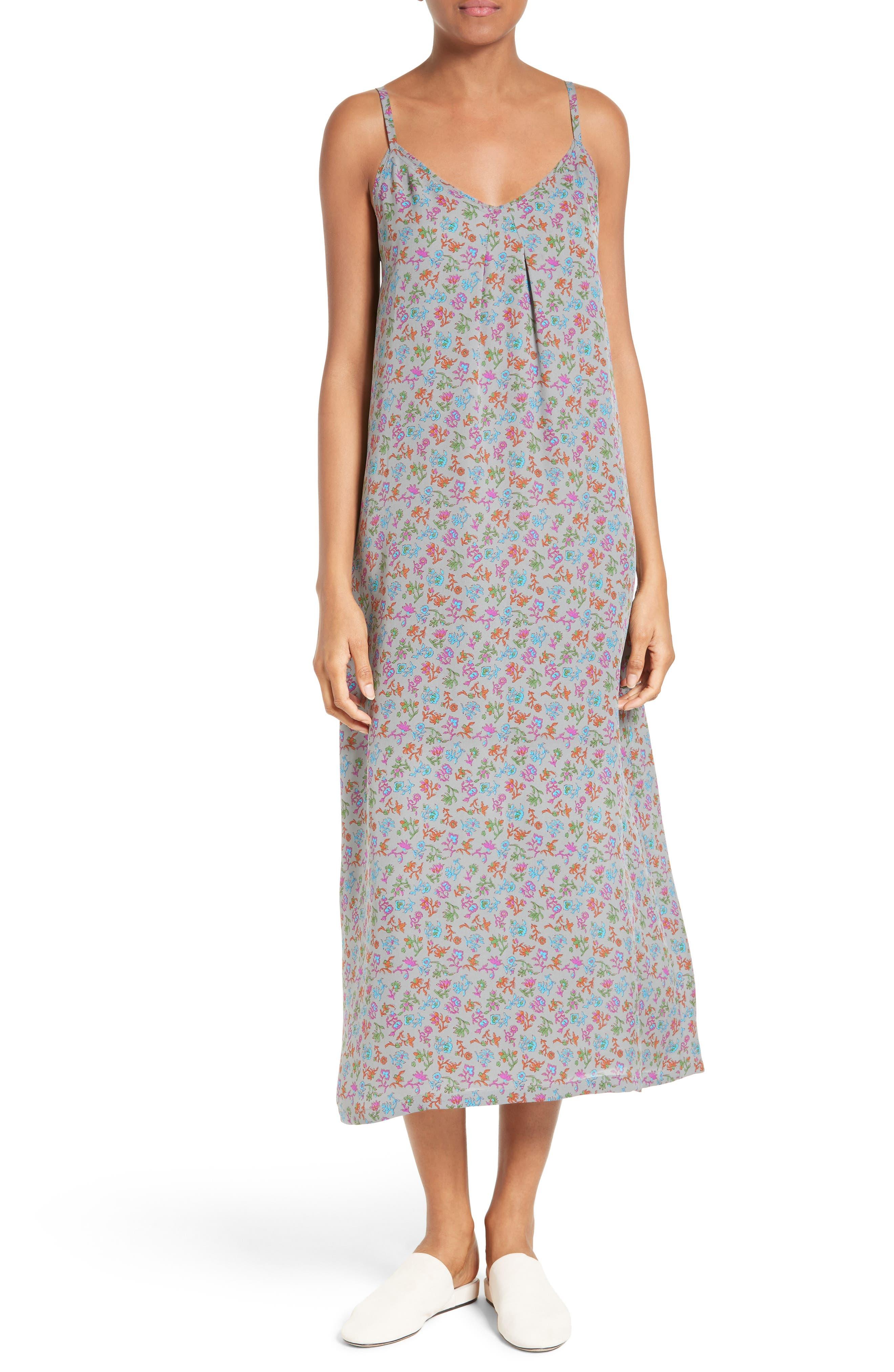 VINCE Floral Print Silk Slipdress