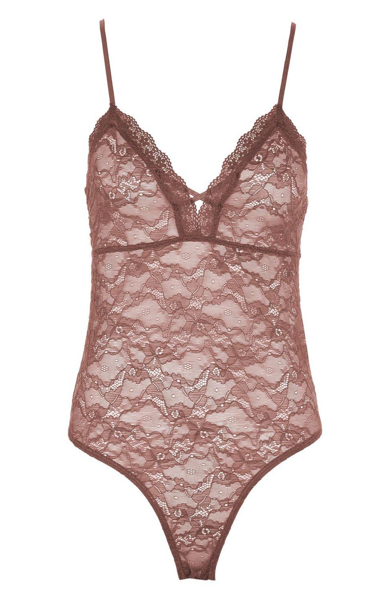 Main Image - Topshop Sheer Lace Bodysuit