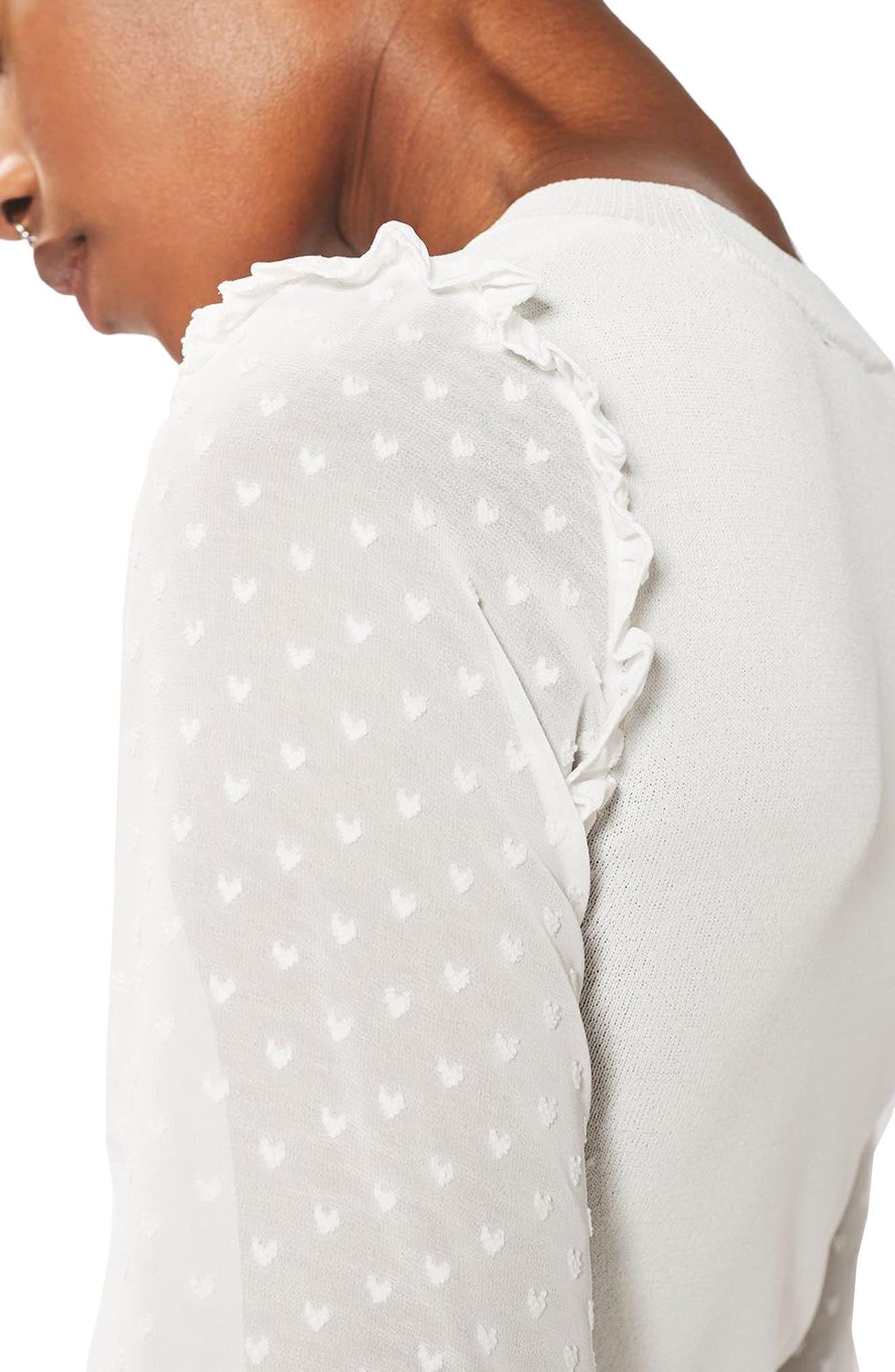 Alternate Image 5  - Topshop Chiffon Sleeve Sweater