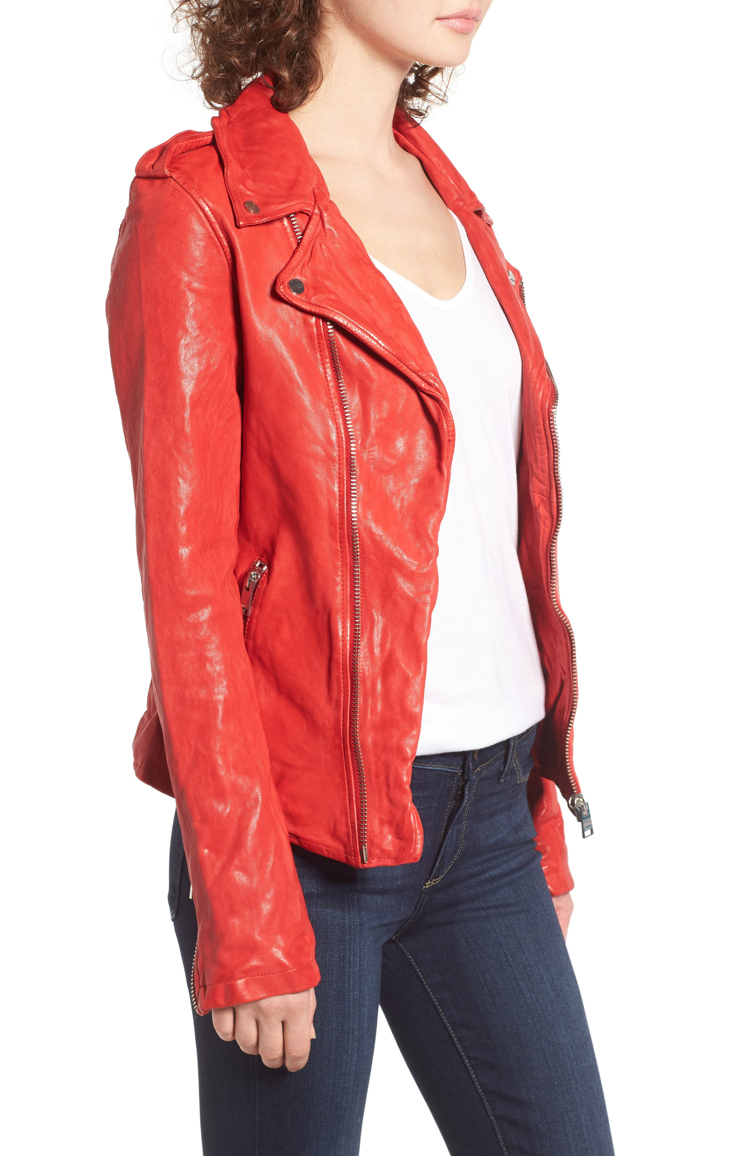 Alternate Image 3  - LAMARQUE Washed Lambskin Leather Moto Jacket