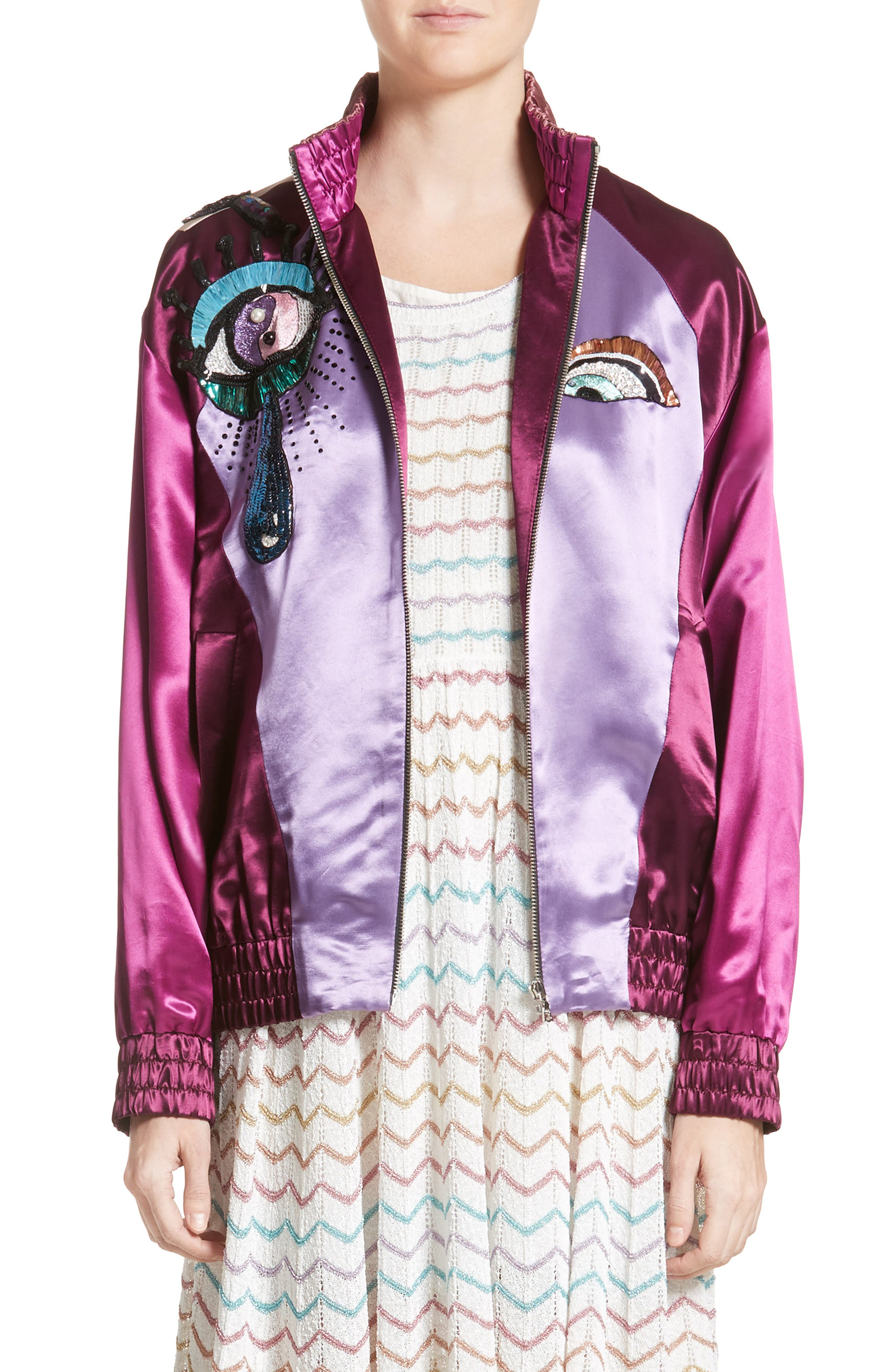 Alternate Image 1 Selected - MARC JACOBS Appliqué Satin Bomber
