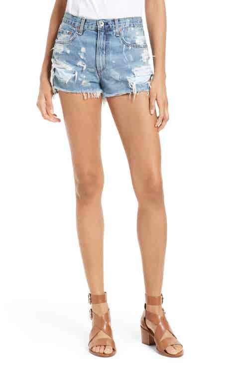 rag   bone/JEAN Justine High Waist Cutoff Denim Shorts (Brokenland)