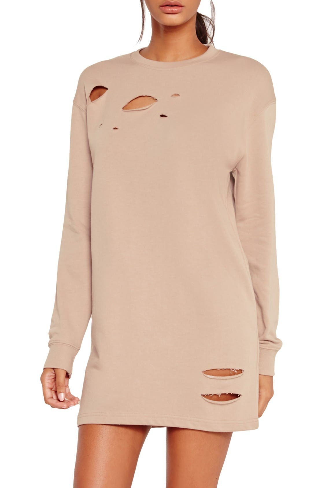 Alternate Image 1 Selected - Missguided Ripped Oversize Knit Dress