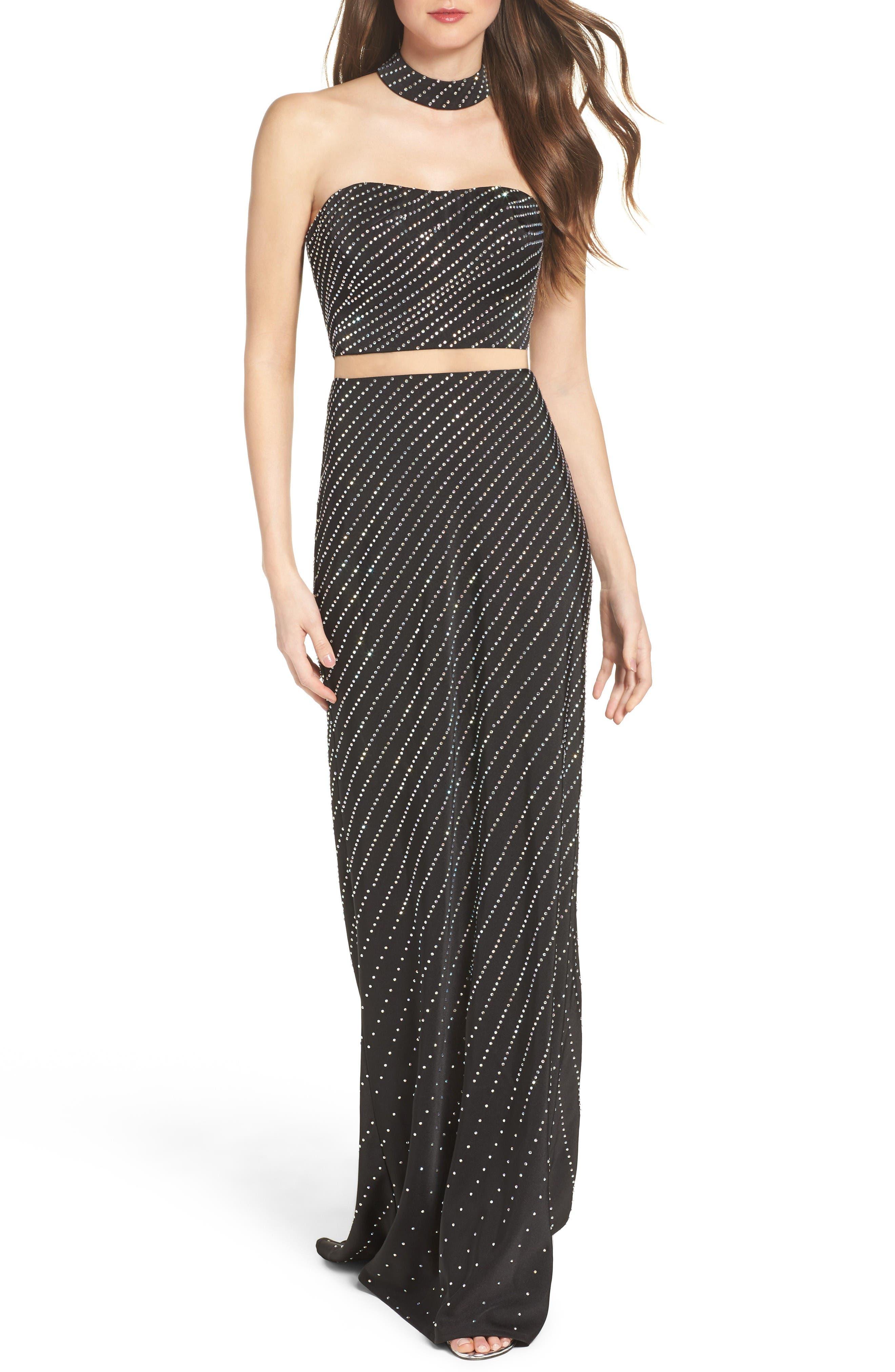 La Femme Embellished Illusion Gown