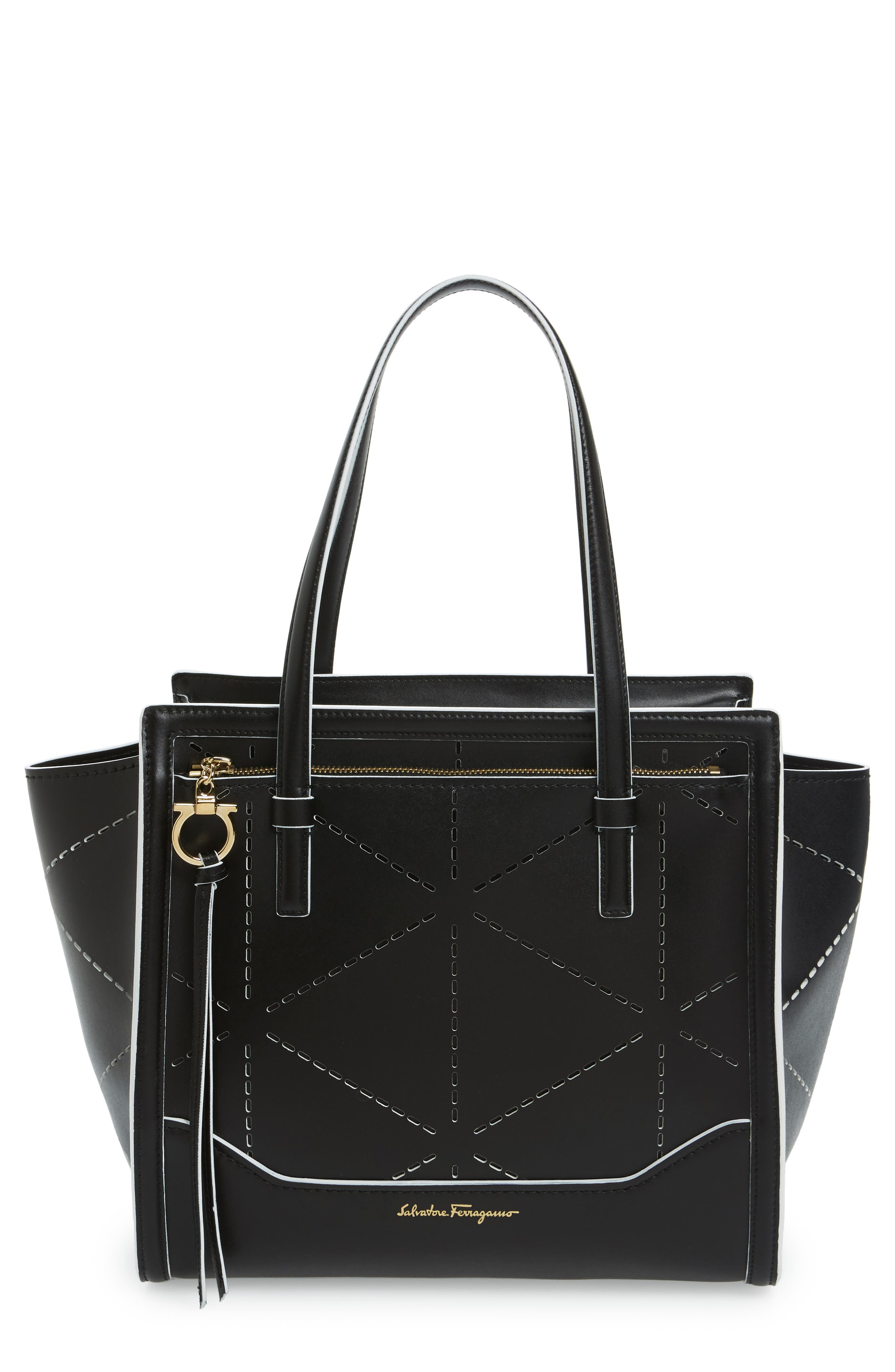 SALVATORE FERRAGAMO Medium Amy Perforated Leather Tote
