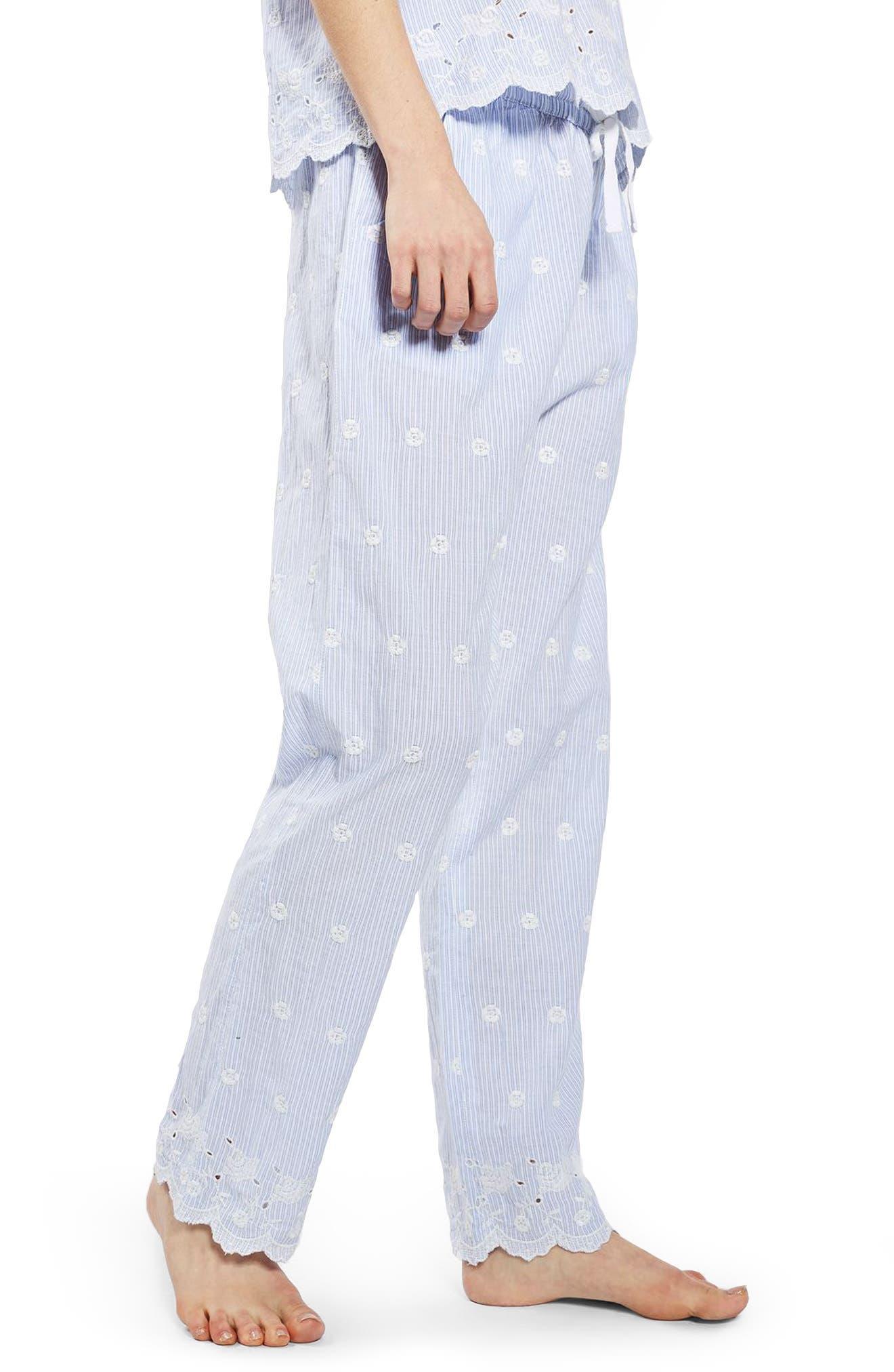 Alternate Image 4  - Topshop Embroidered Stripe Pajama Pants