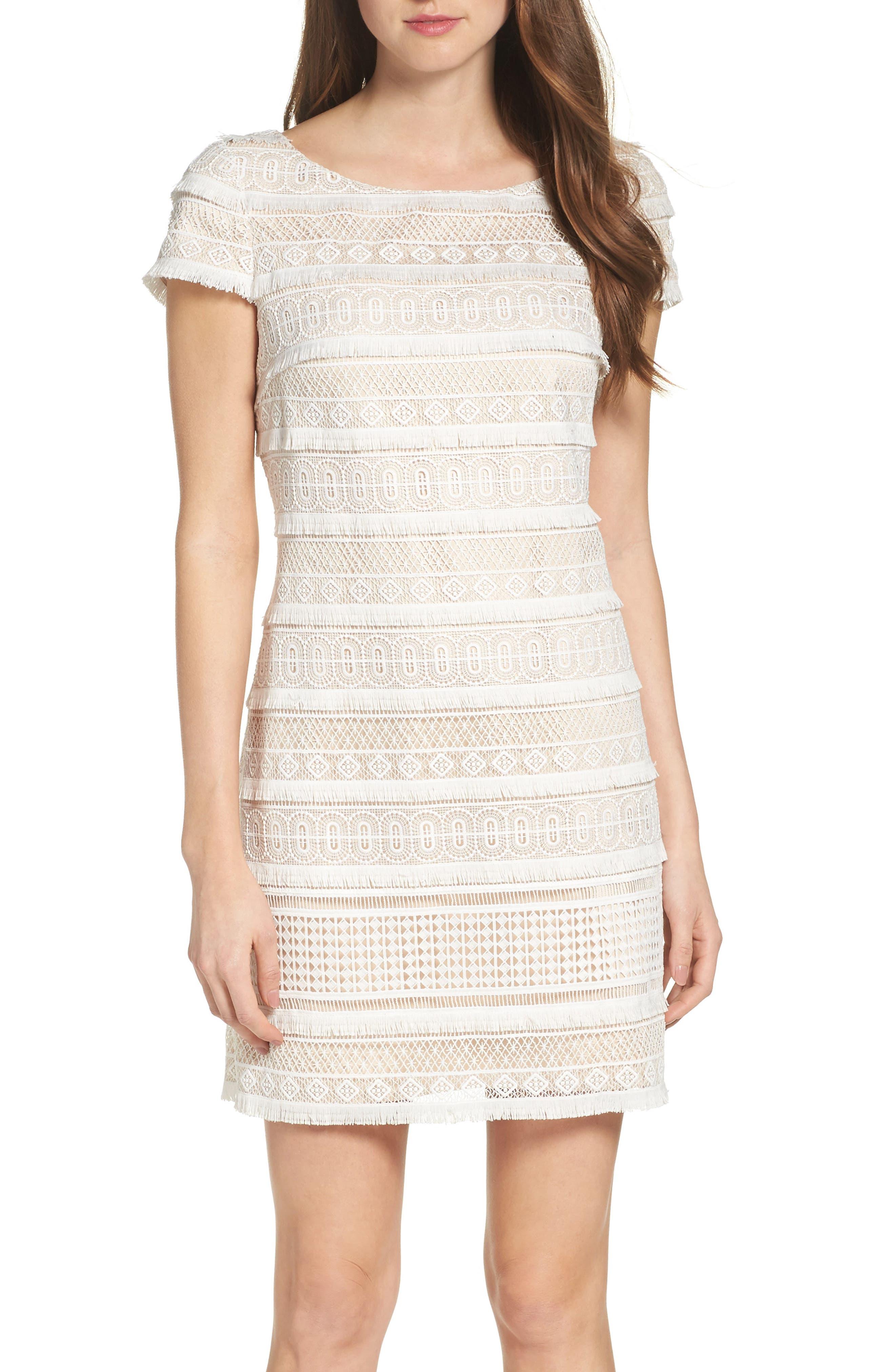 Alternate Image 1 Selected - Eliza J Lace Shift Dress (Regular & Petite)