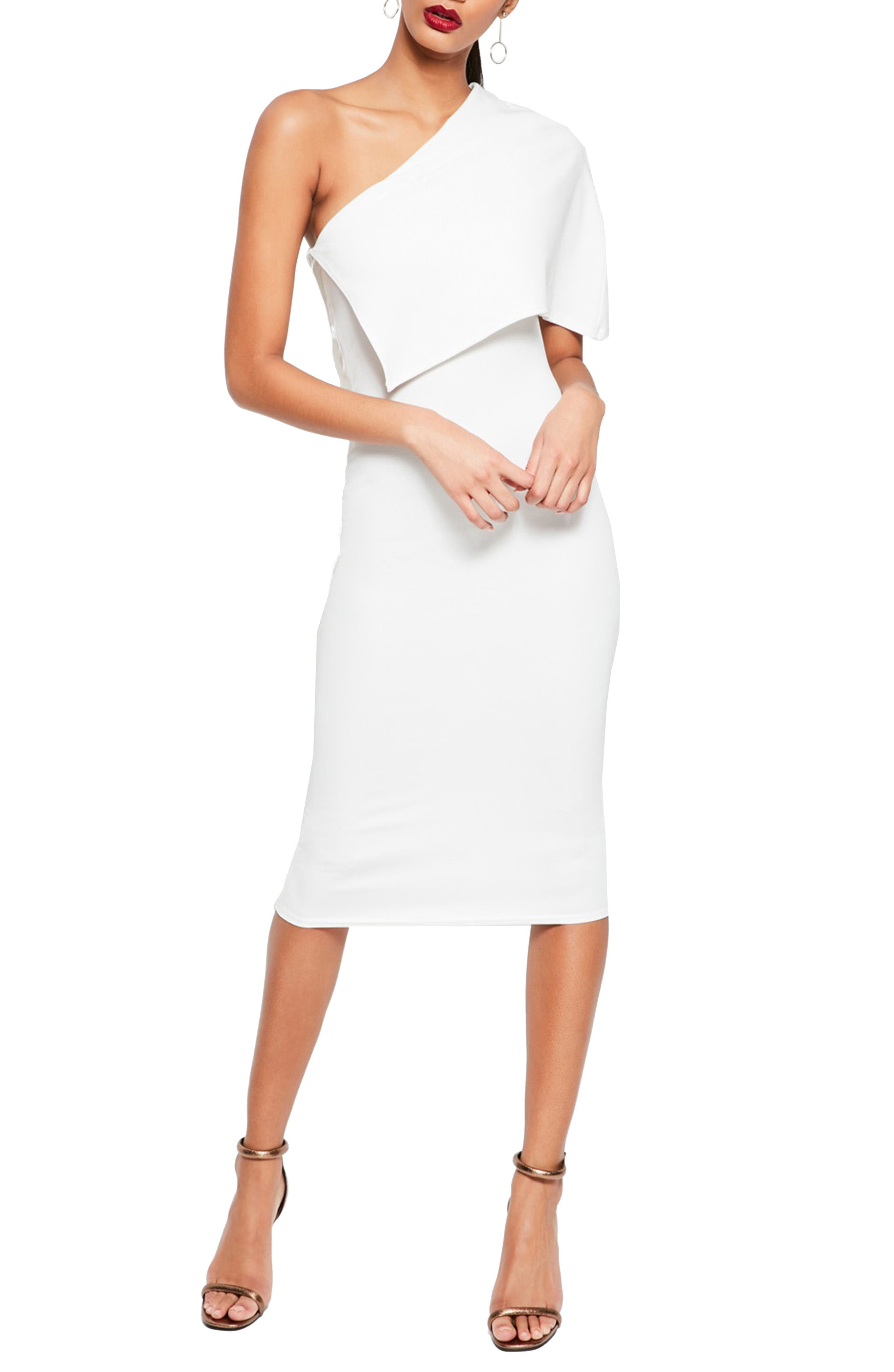 Alternate Image 1 Selected - Missguided One-Shoulder Cape Midi Dress