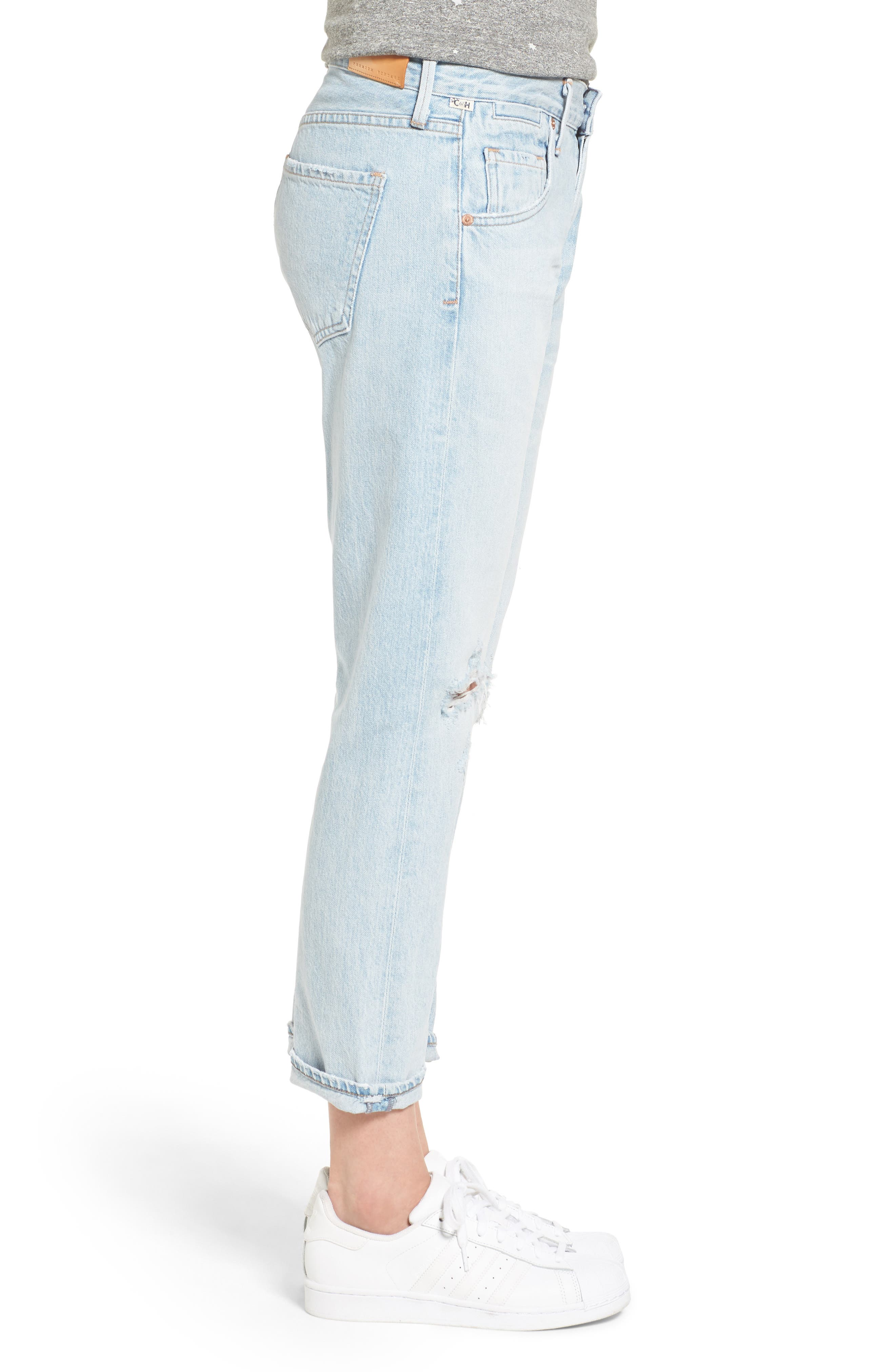 Alternate Image 3  - Citizens of Humanity Emerson High Waist Ripped Boyfriend Jeans (Distressed Rock)