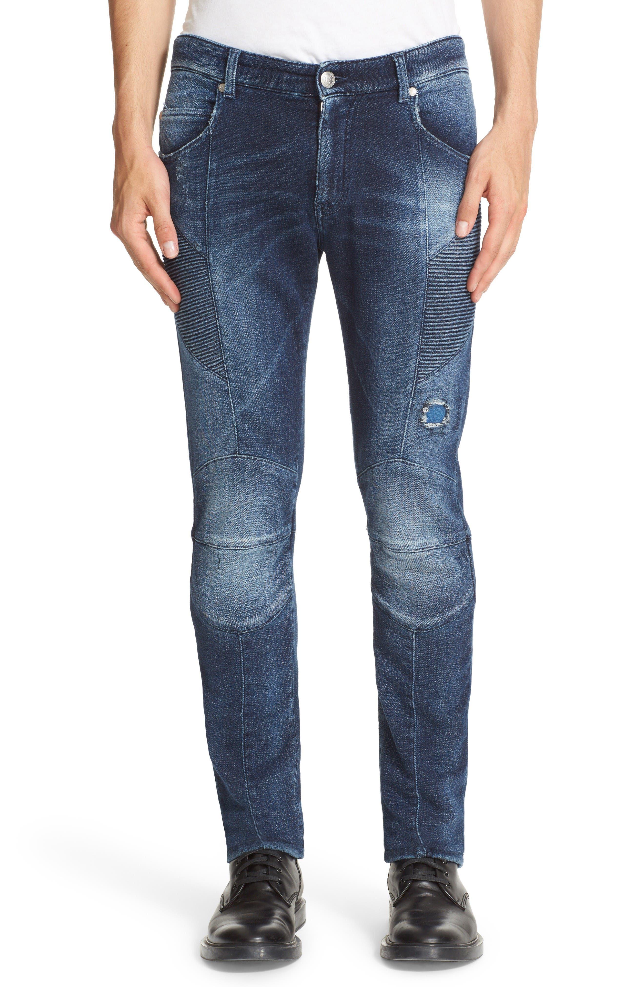 PIERRE BALMAIN Knit Biker Jeans