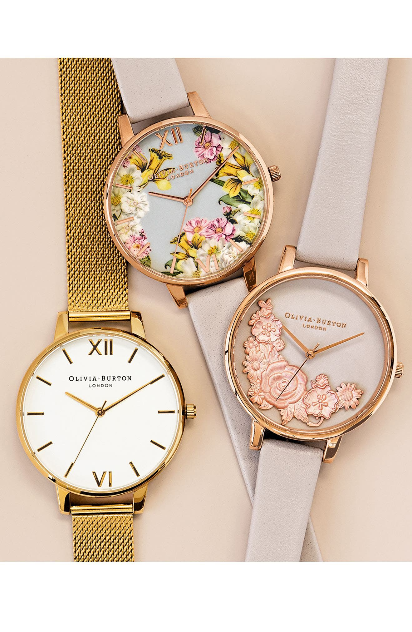 Alternate Image 2  - Olivia Burton Flower Show Leather Strap Watch, 38mm