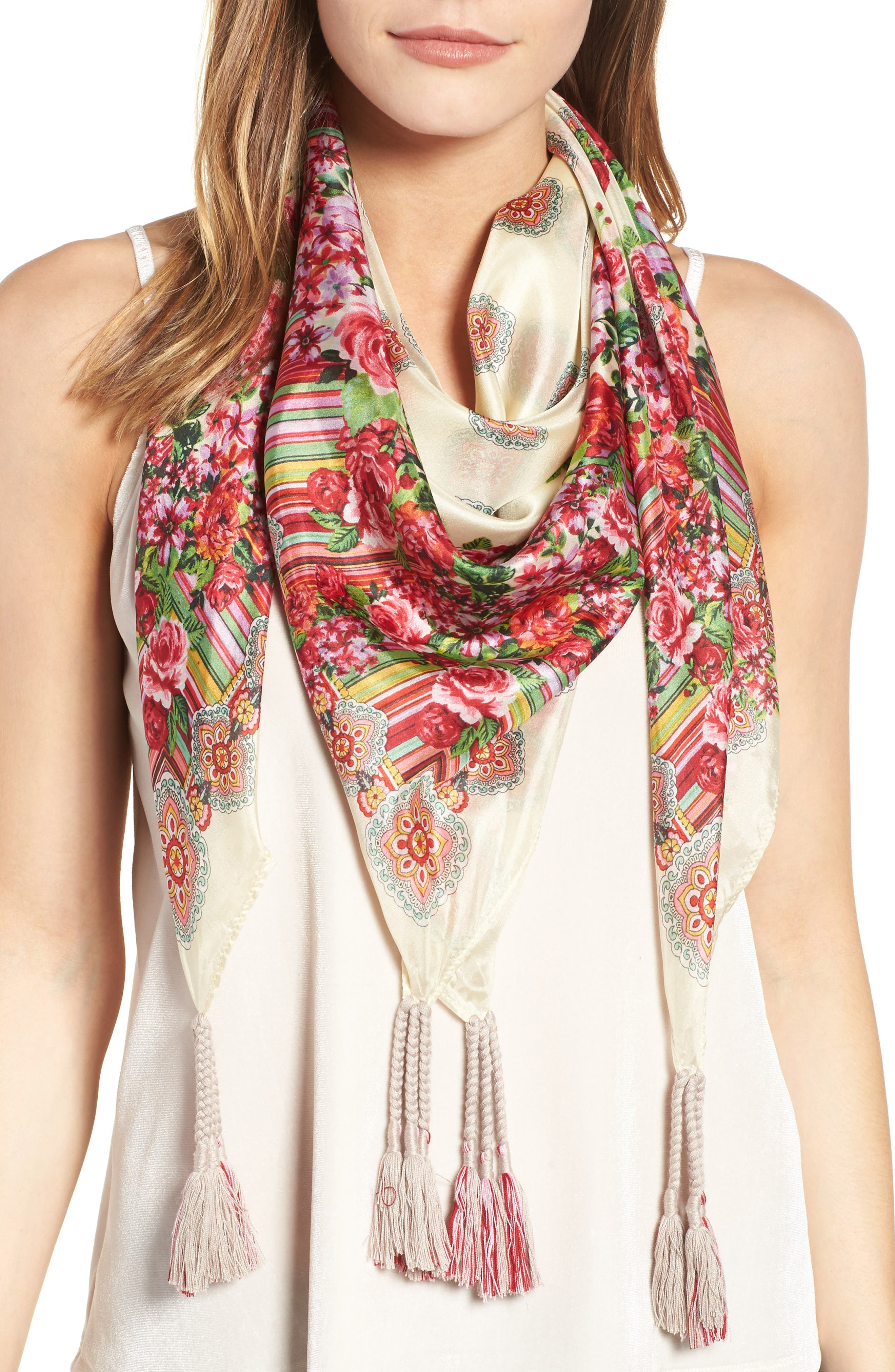 Johnny Was Rose Lace Print Square Silk Scarf