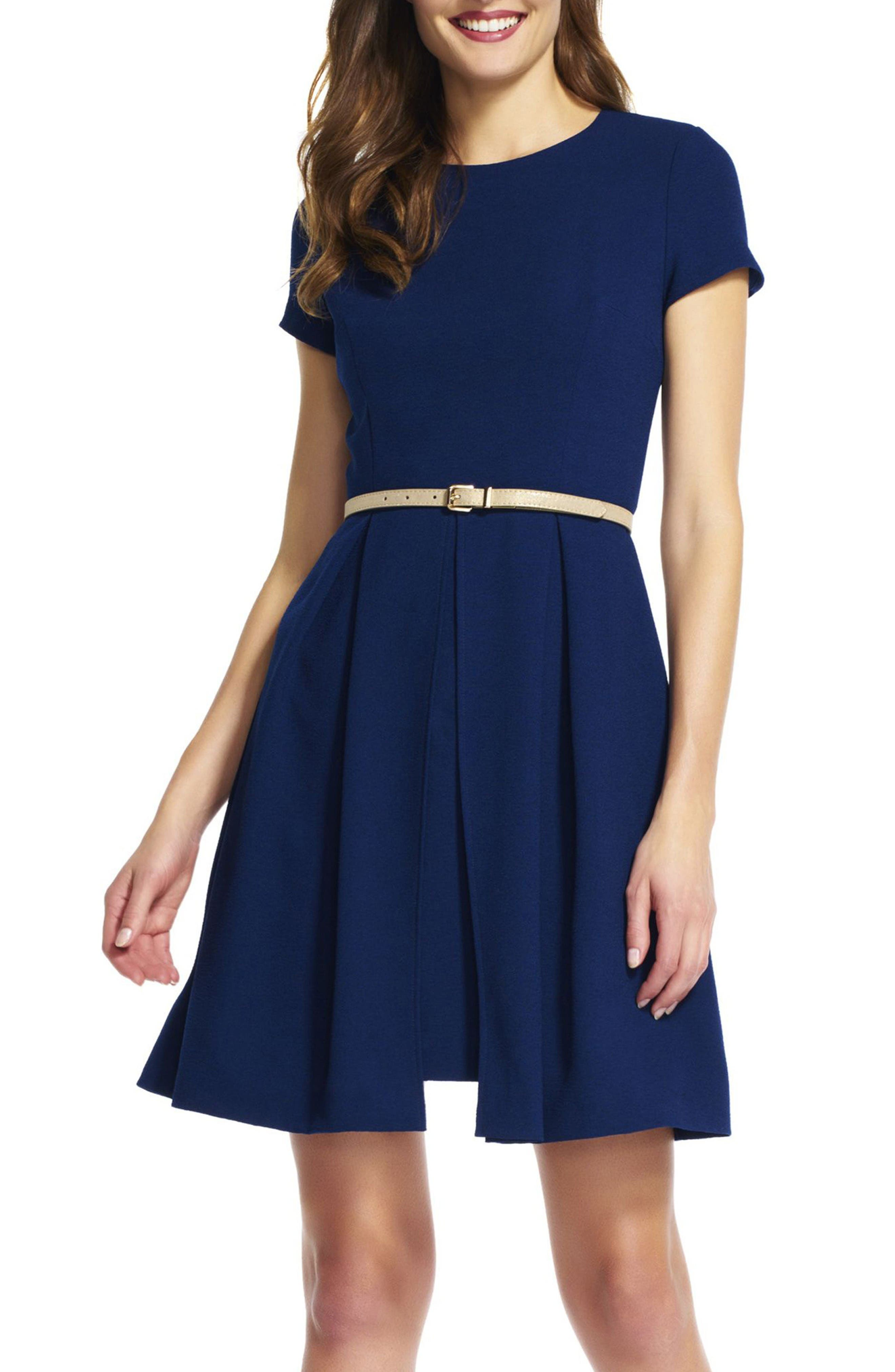 Alternate Image 1 Selected - Adrianna Papell Belted Textured Crepe Fit & Flare Dress