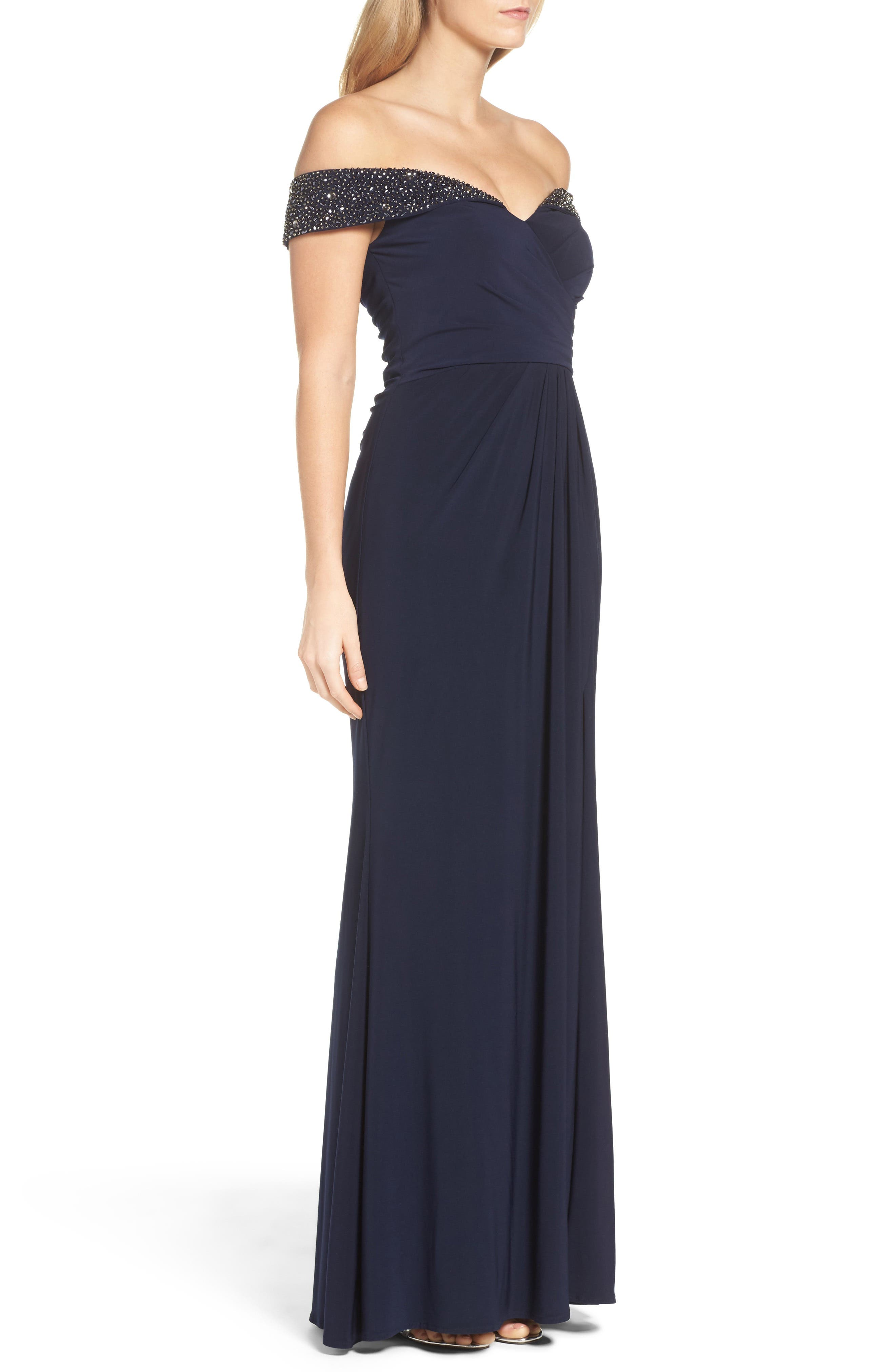 Alternate Image 3  - Xscape Off the Shoulder Beaded Gown (Regular & Petite)