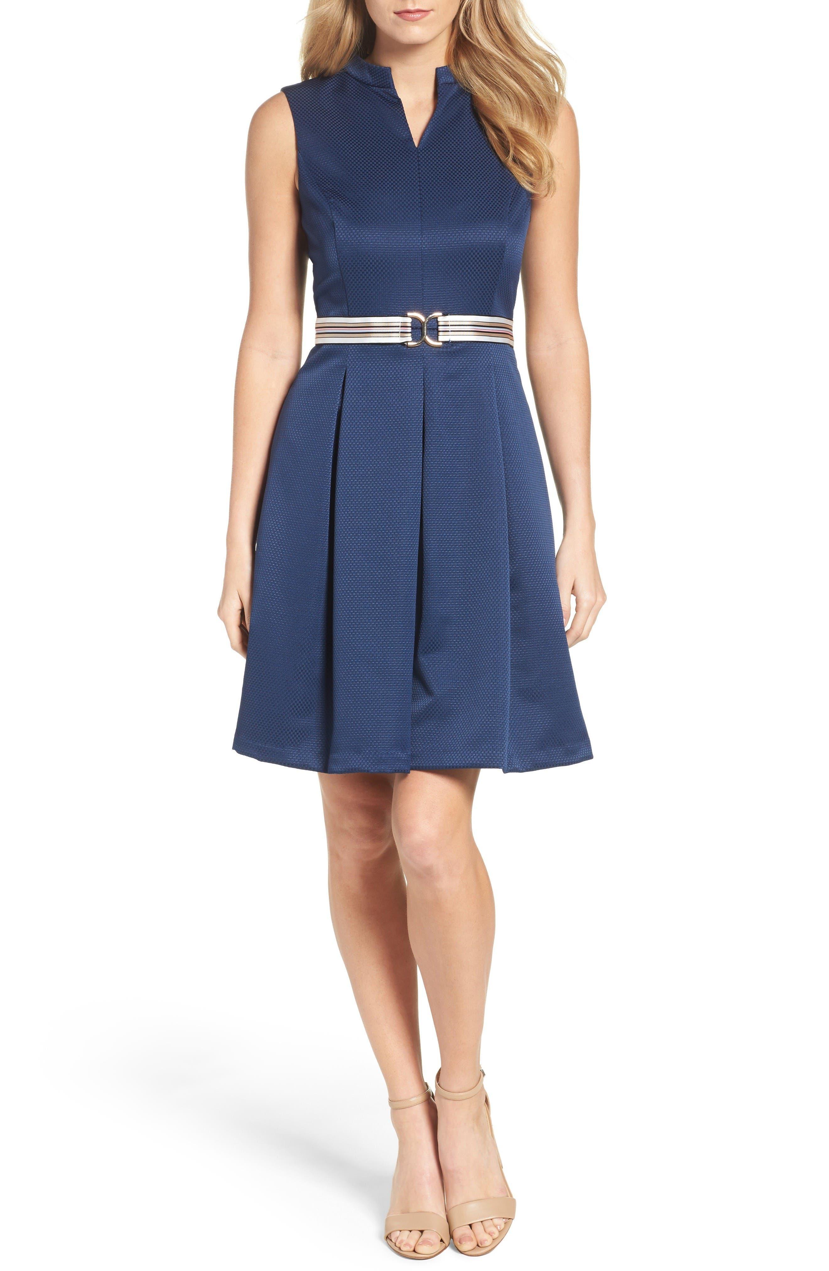 Alternate Image 4  - Ellen Tracy Belted Fit & Flare Dress