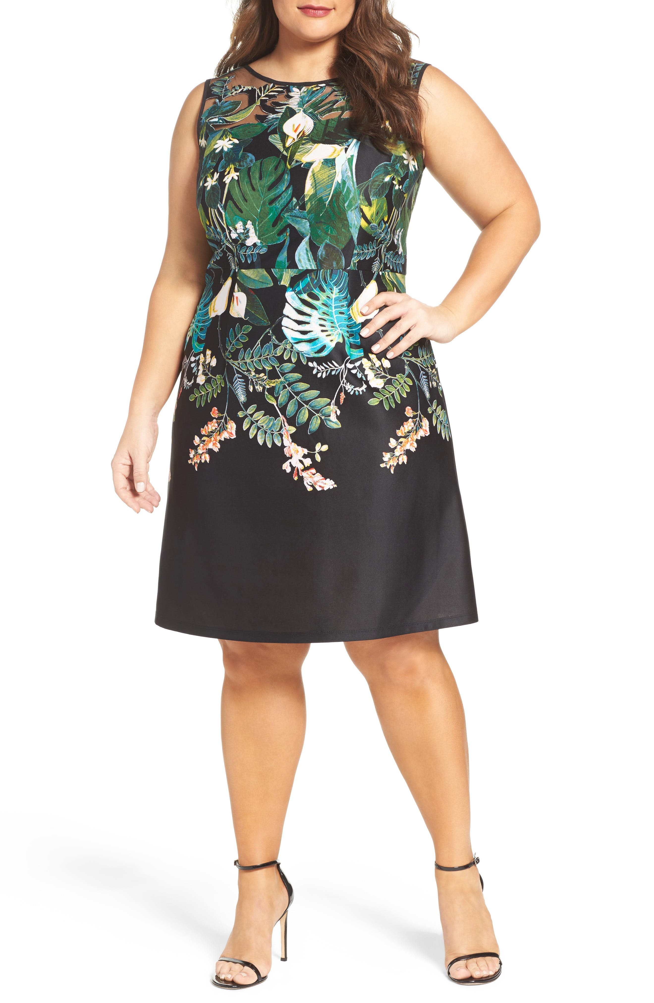 Adrianna Papell Laser Cut A-Line Dress (Plus Size)