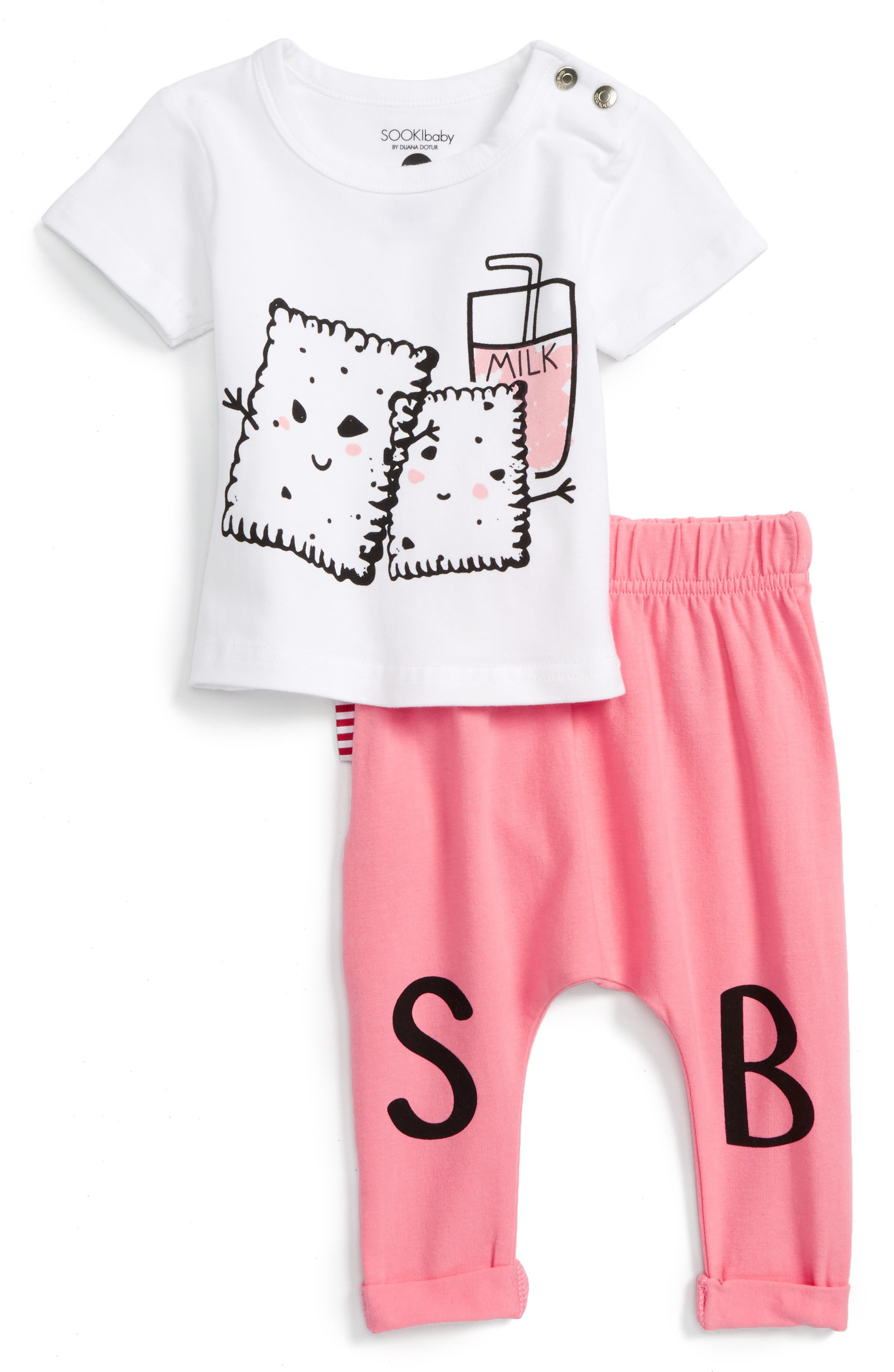 SOOKIbaby Print Tee & Leggings Set (Baby Girls & Toddler Girls)