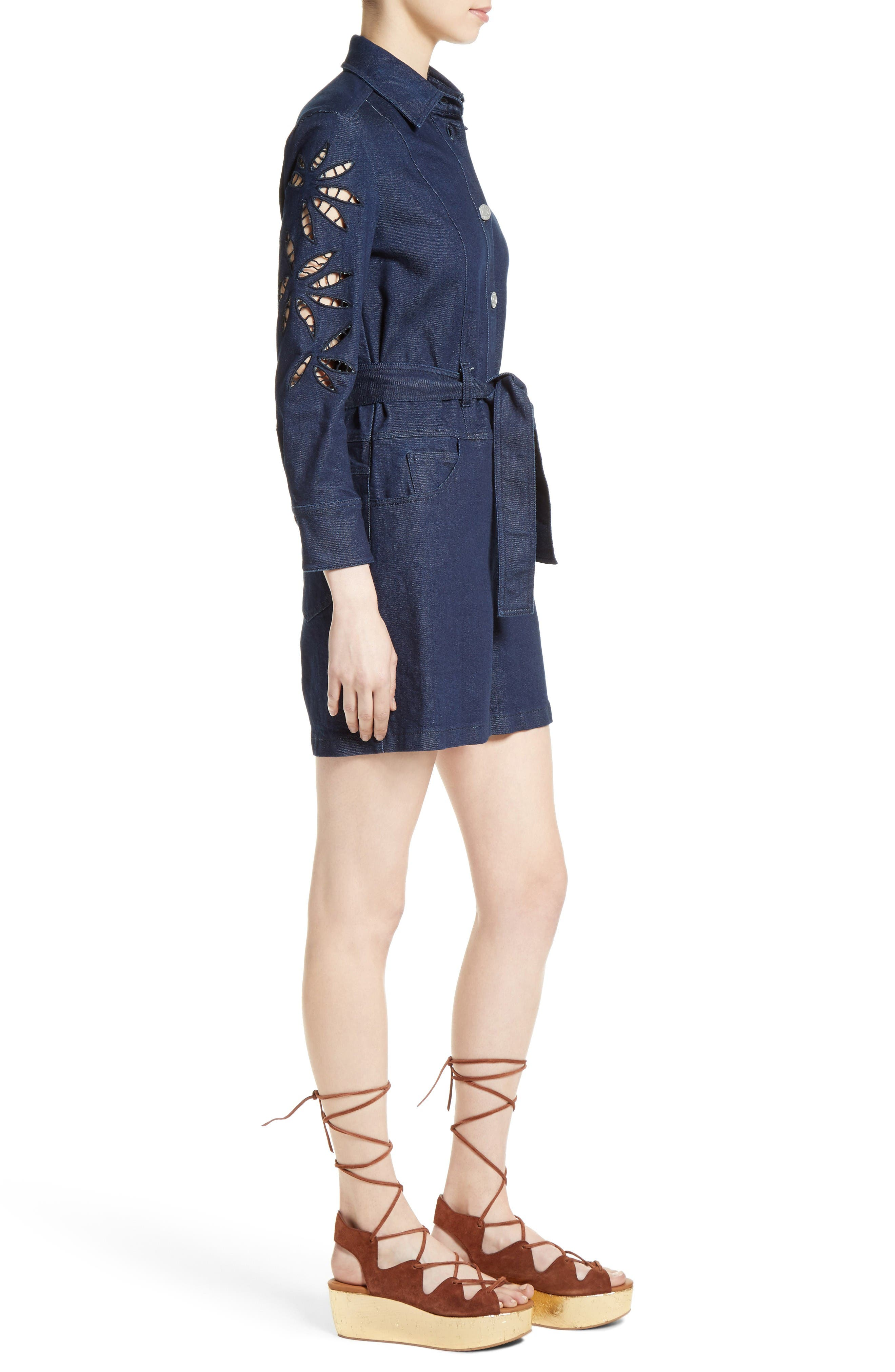 Alternate Image 3  - See by Chloé Embroidered Denim Romper (Nordstrom Exclusive)