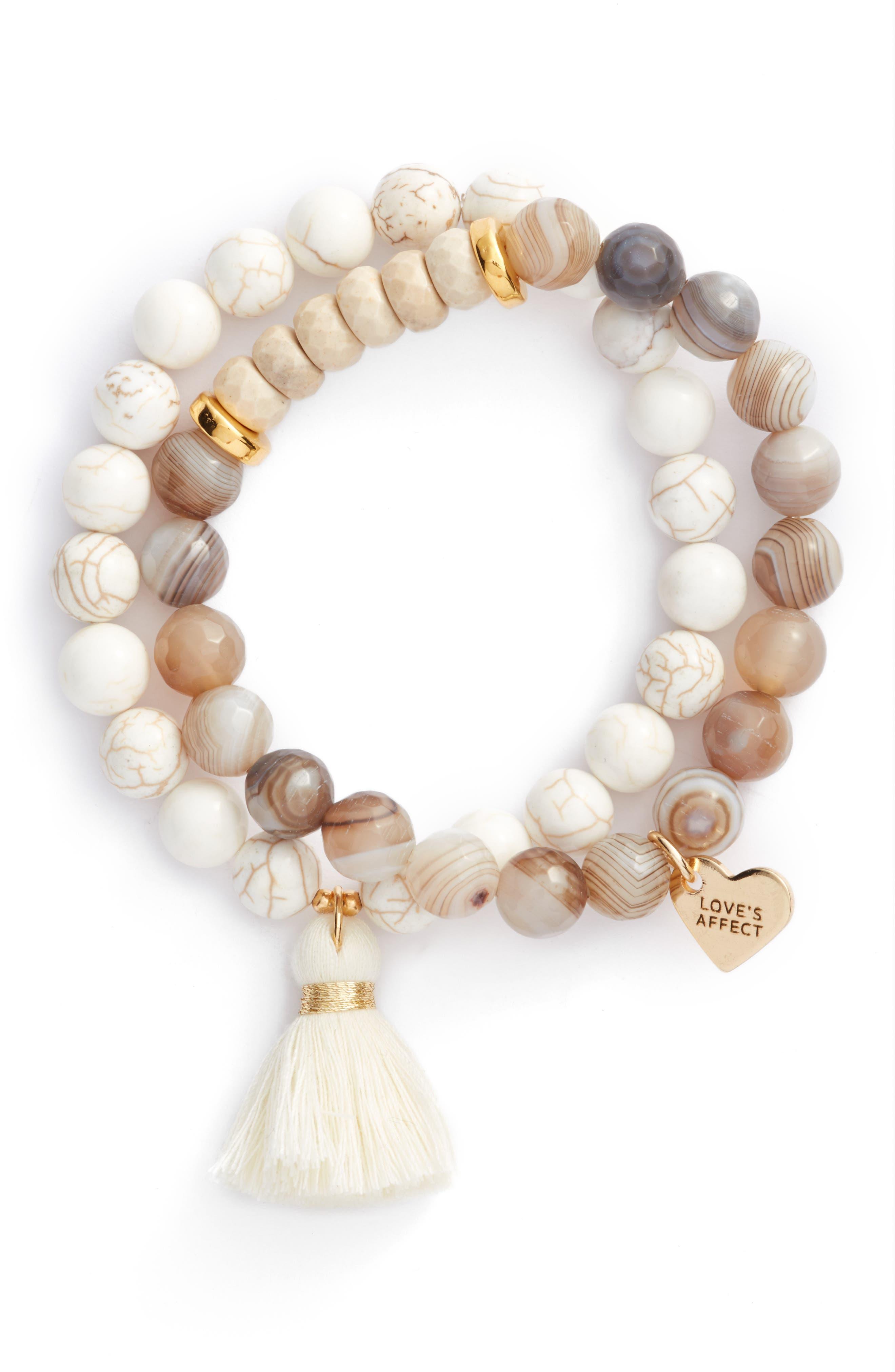 Main Image - Love's Affect Set of 2 Semiprecious Stone Tassel Bracelets
