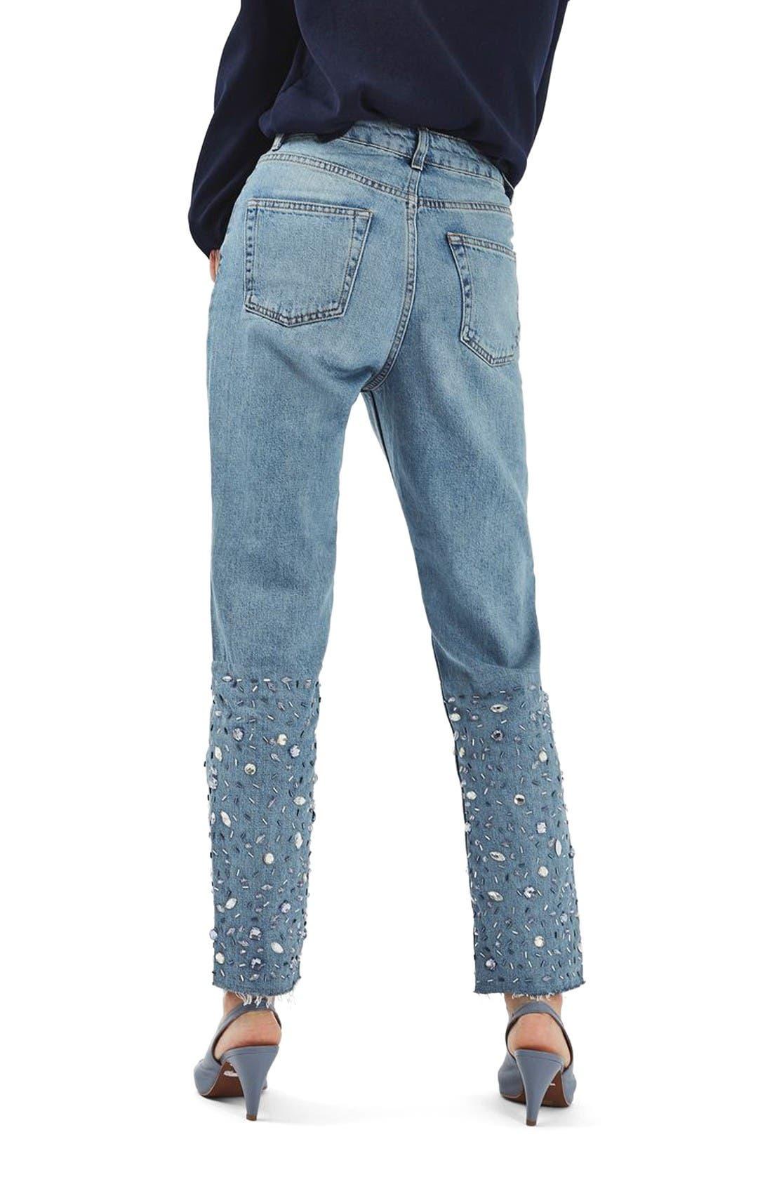 Alternate Image 2  - Topshop Gemstone Mom Jeans