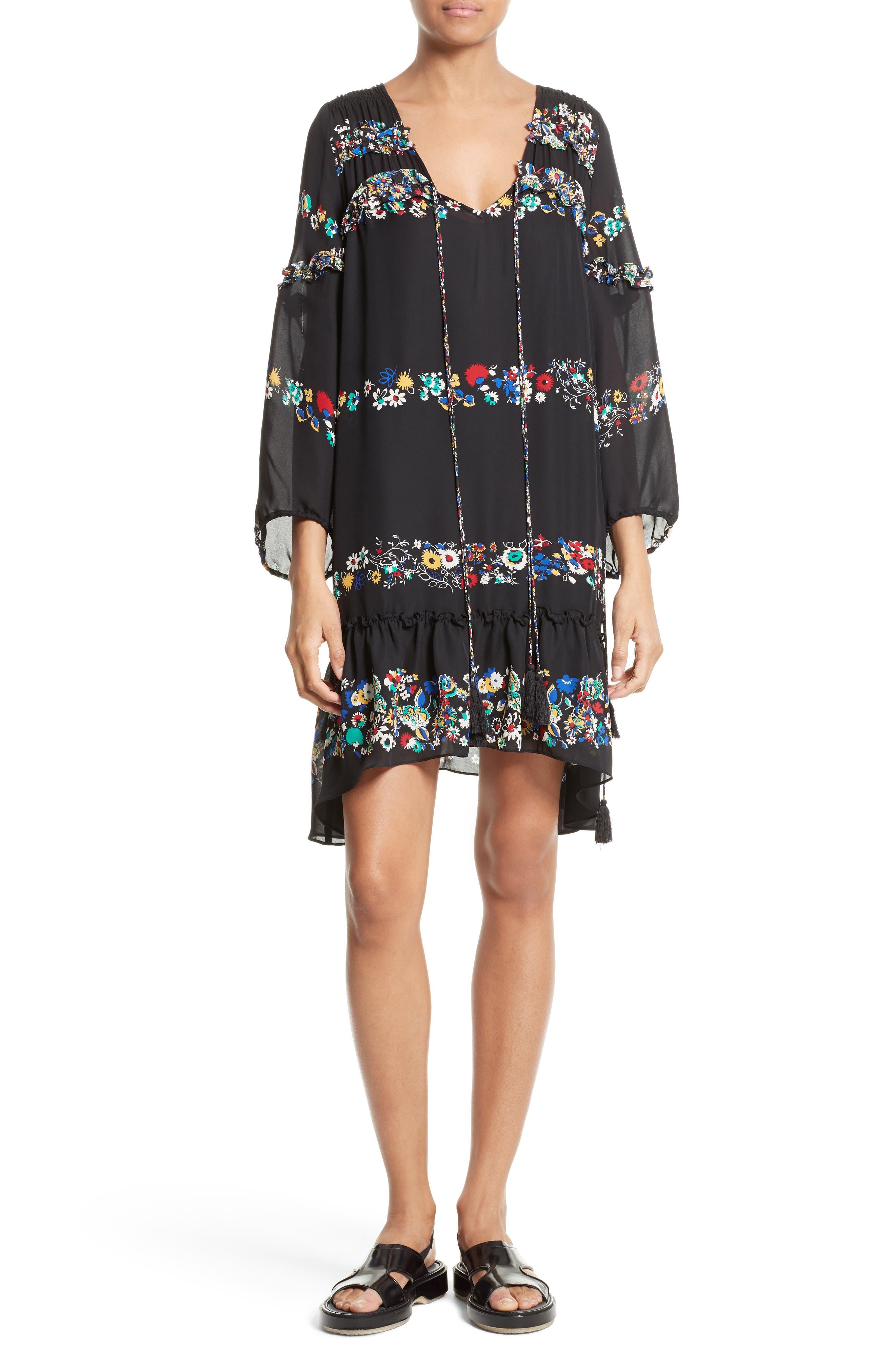 Alternate Image 1 Selected - Derek Lam 10 Crosby Floral Stripe Ruffle Silk Dress