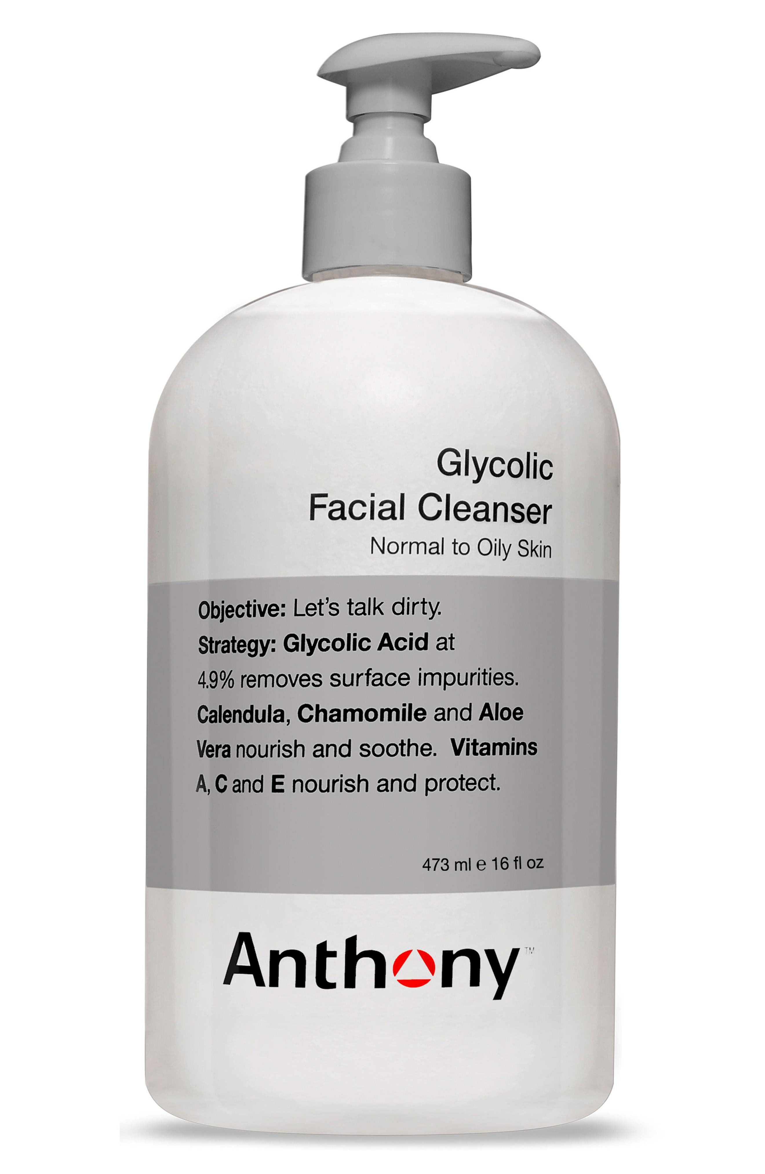 ANTHONY Glycolic Facial Cleanser with Dispensing Pump