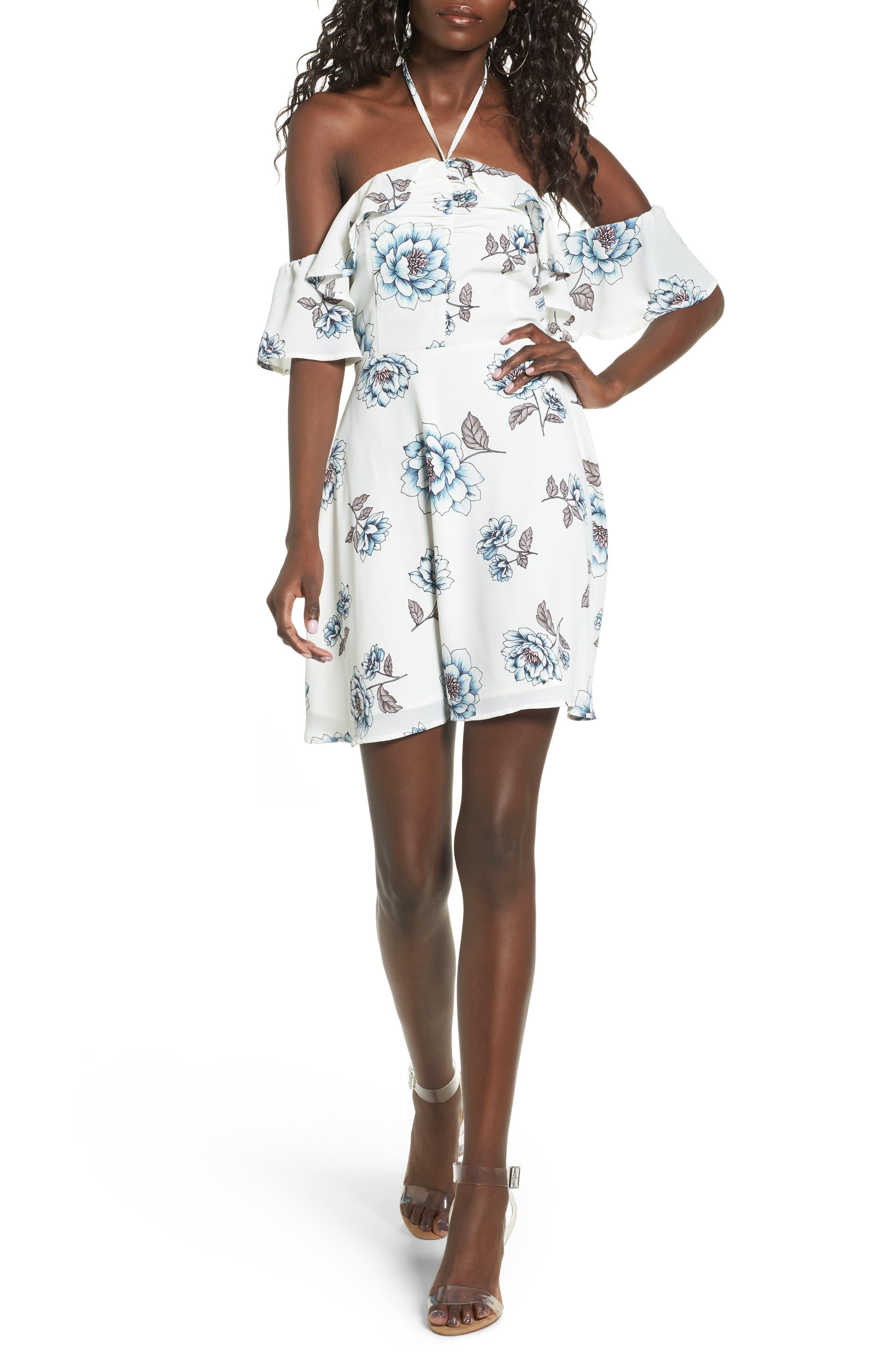Main Image - J.O.A. Halter Cold Shoulder Minidress