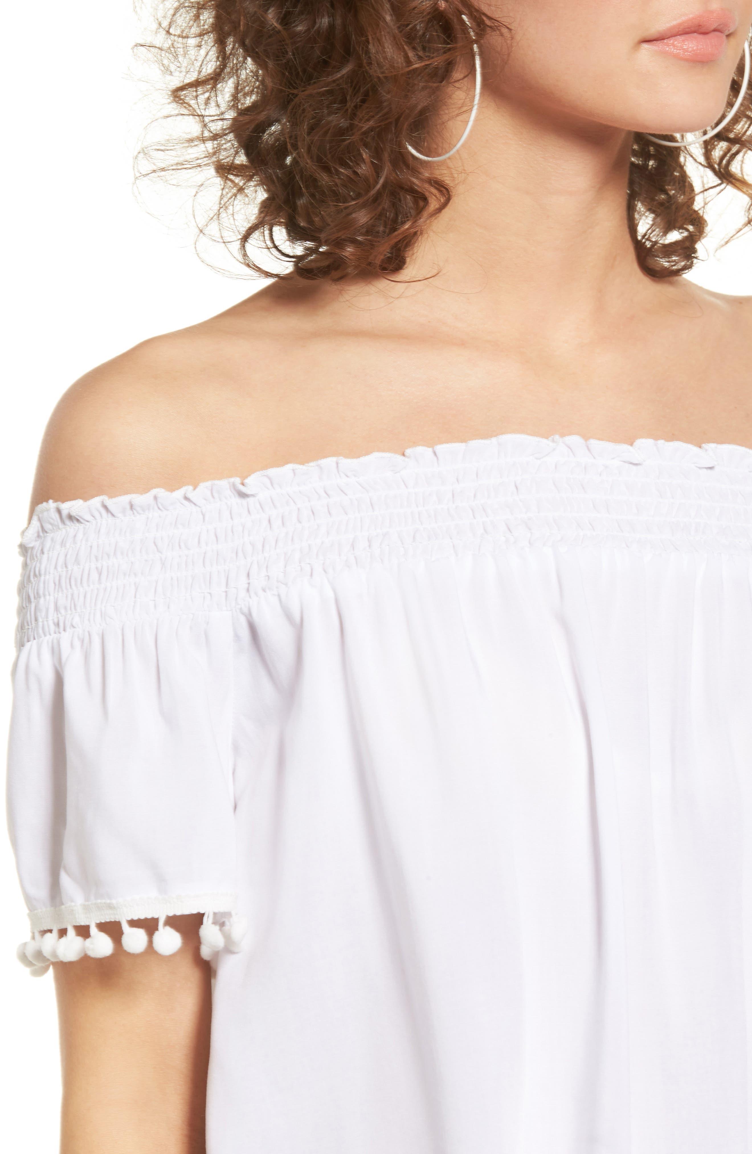 Alternate Image 4  - Love, Fire Smocked Check Off the Shoulder Top