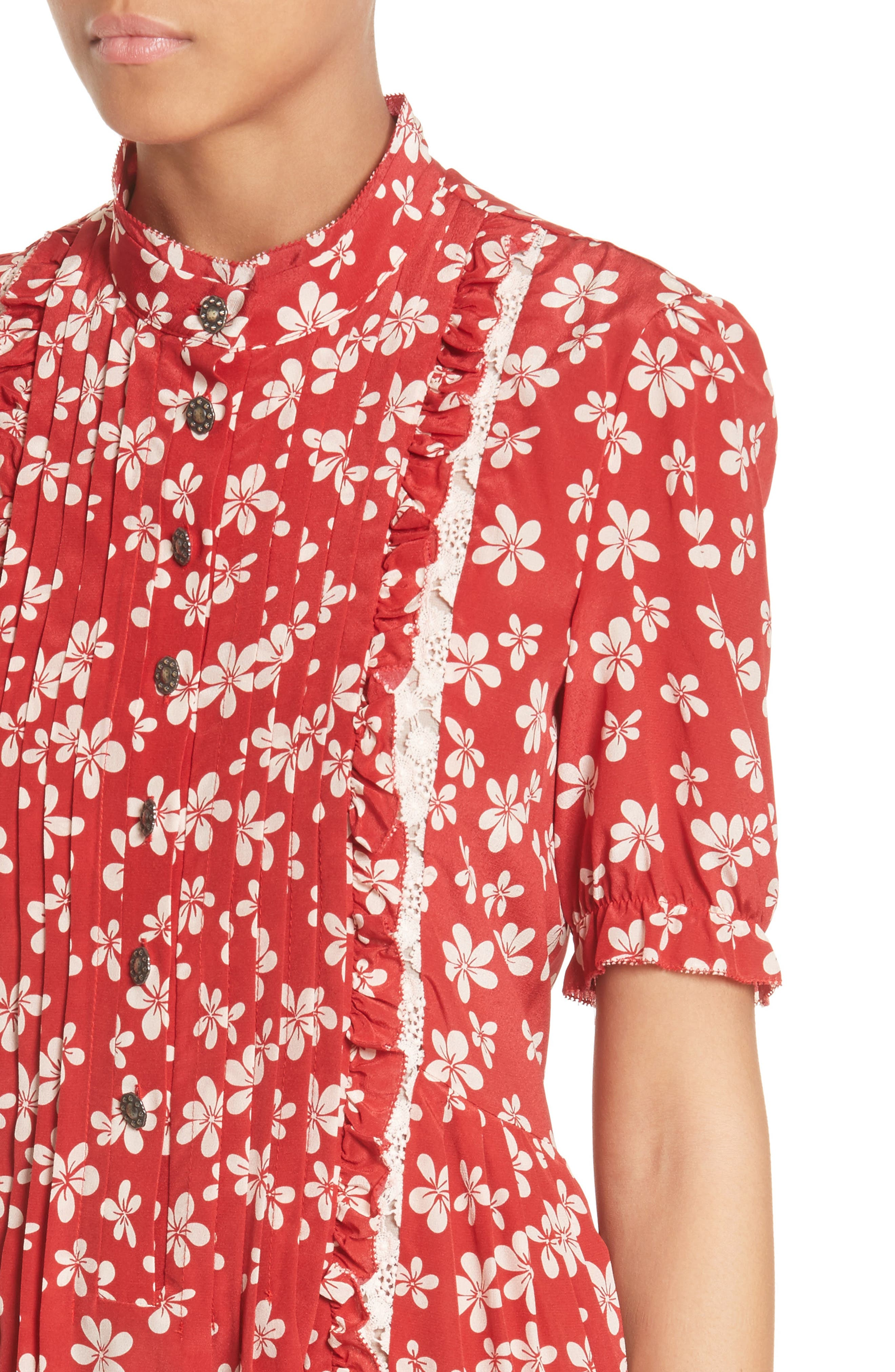 Alternate Image 4  - The Kooples Floral Print Silk Dress