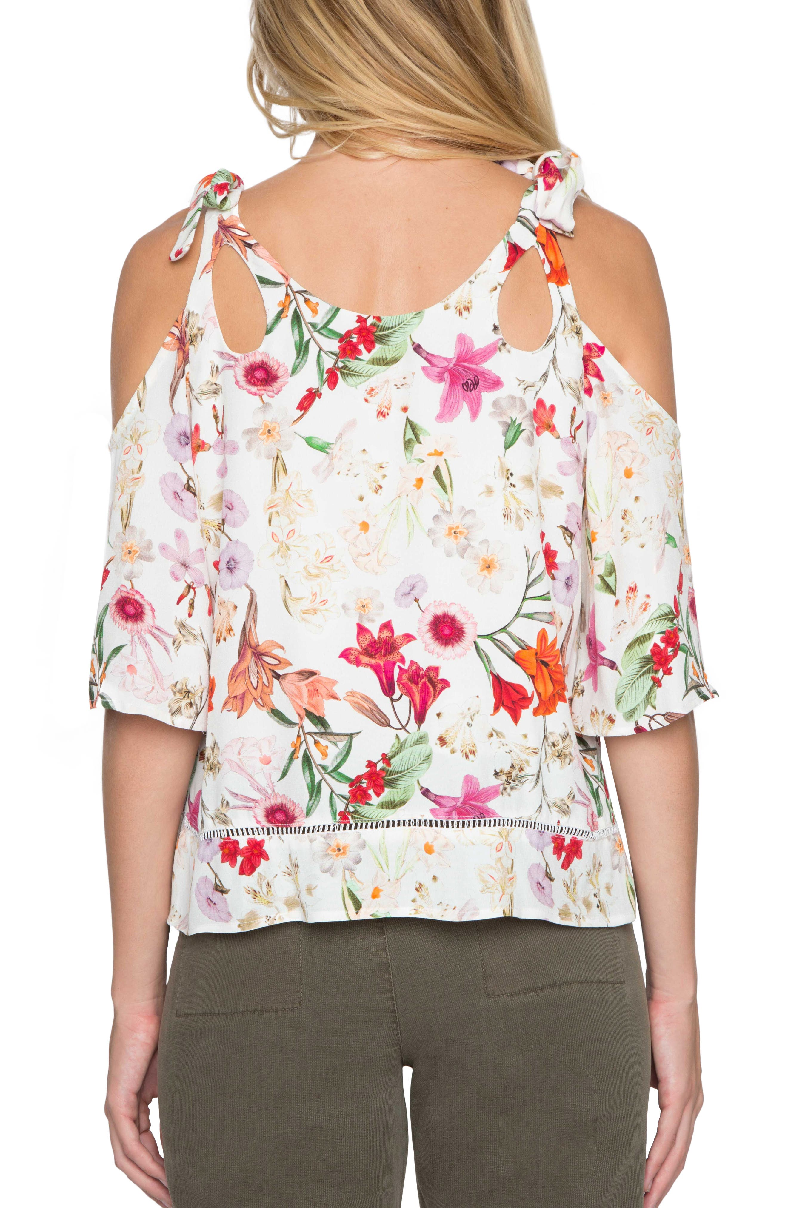 Alternate Image 2  - Willow & Clay Cold Shoulder Floral Print Top