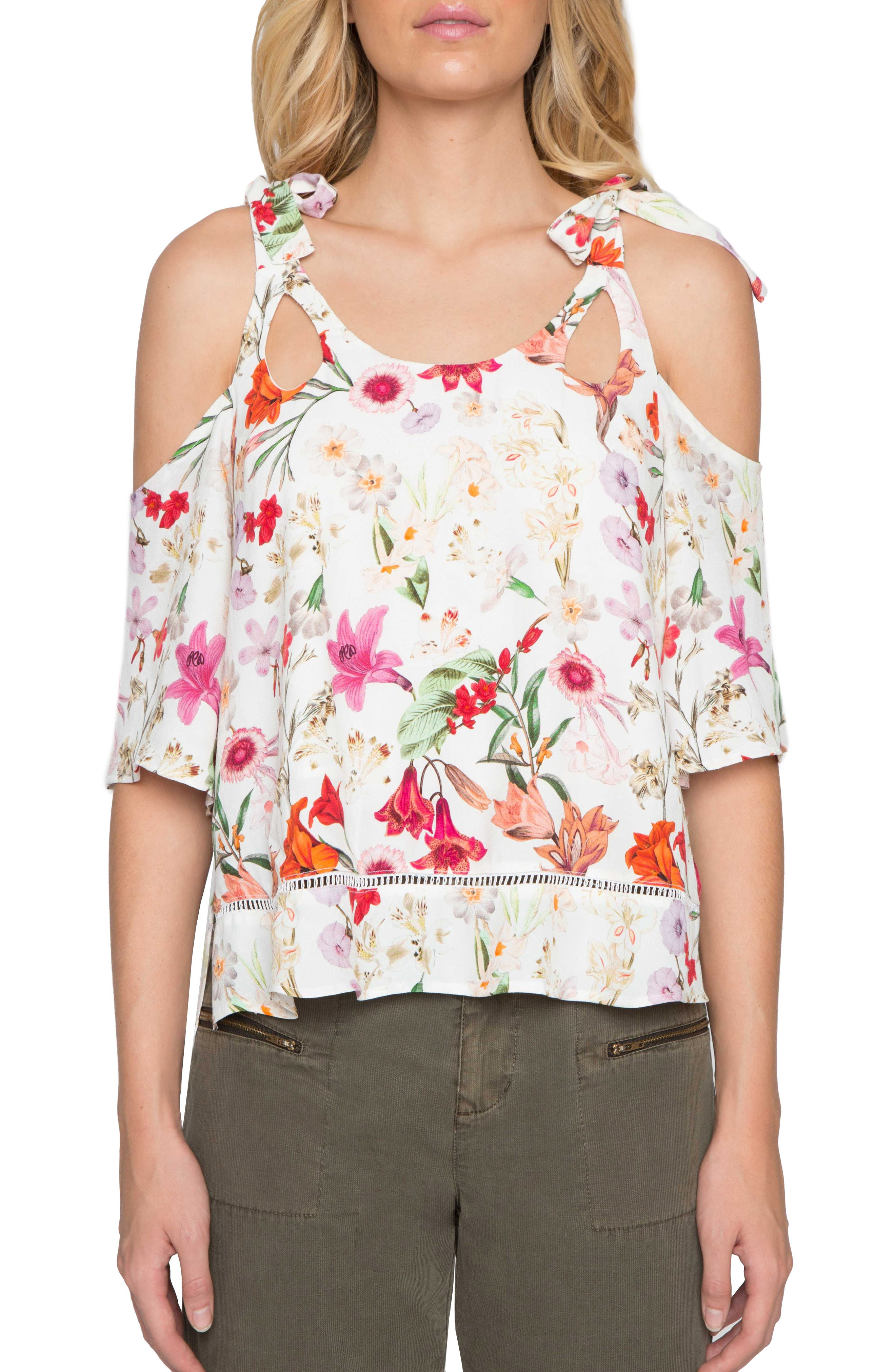 Main Image - Willow & Clay Cold Shoulder Floral Print Top